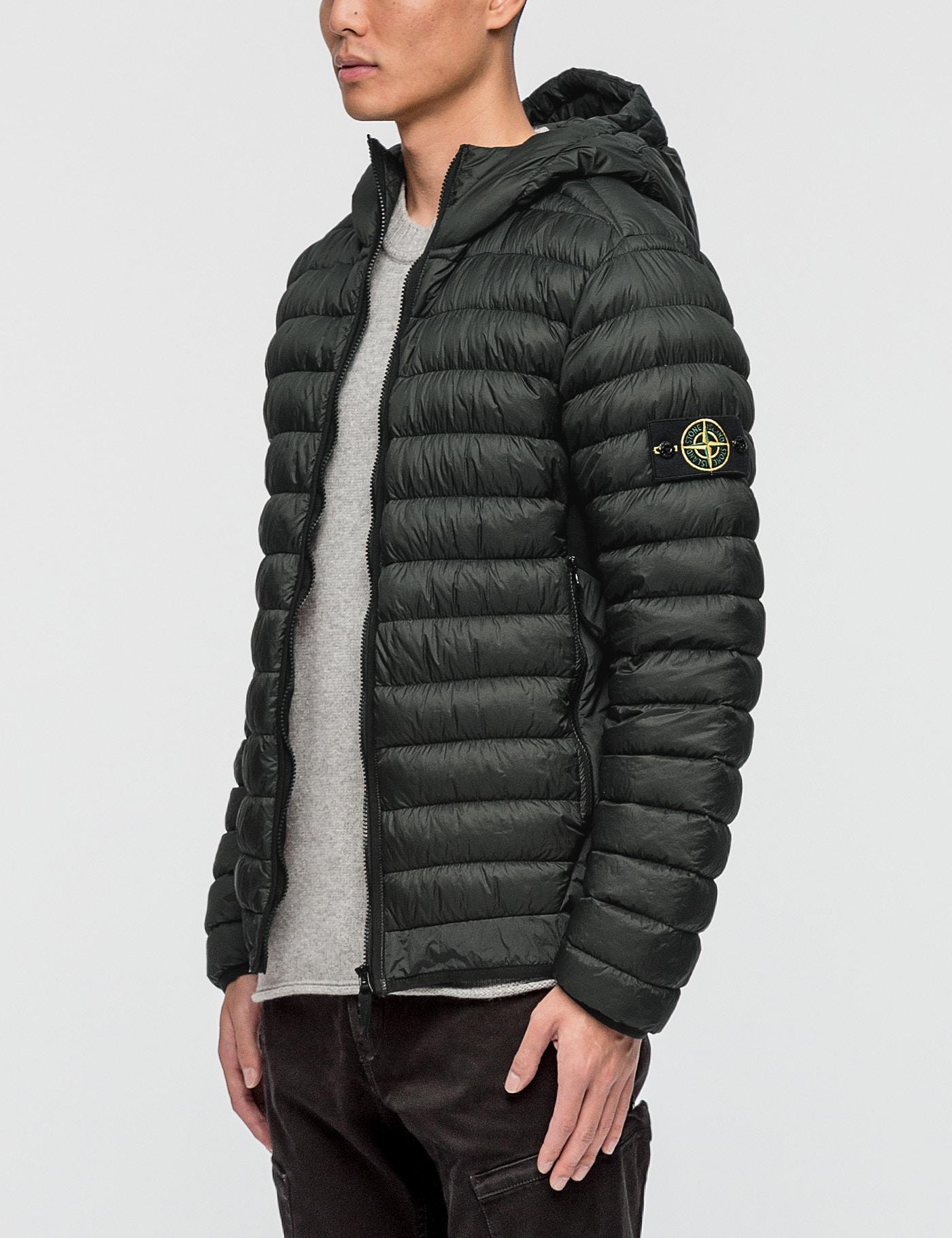 cb8fe8c0e4b48 Lyst - Stone Island Garment Dyed Micro Yarn Hooded Down Jacket in ...