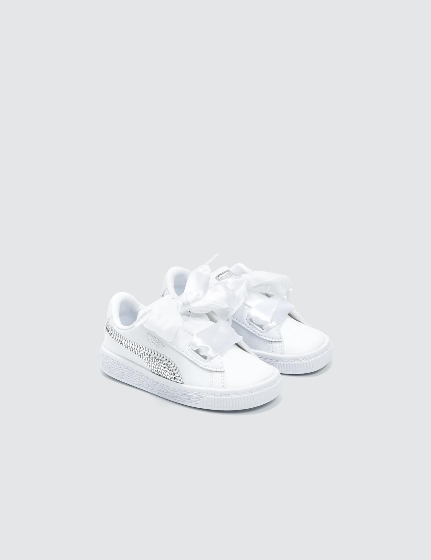 3a82ba90ed8756 Lyst - PUMA Basket Heart Bling Infant in White - Save 10%
