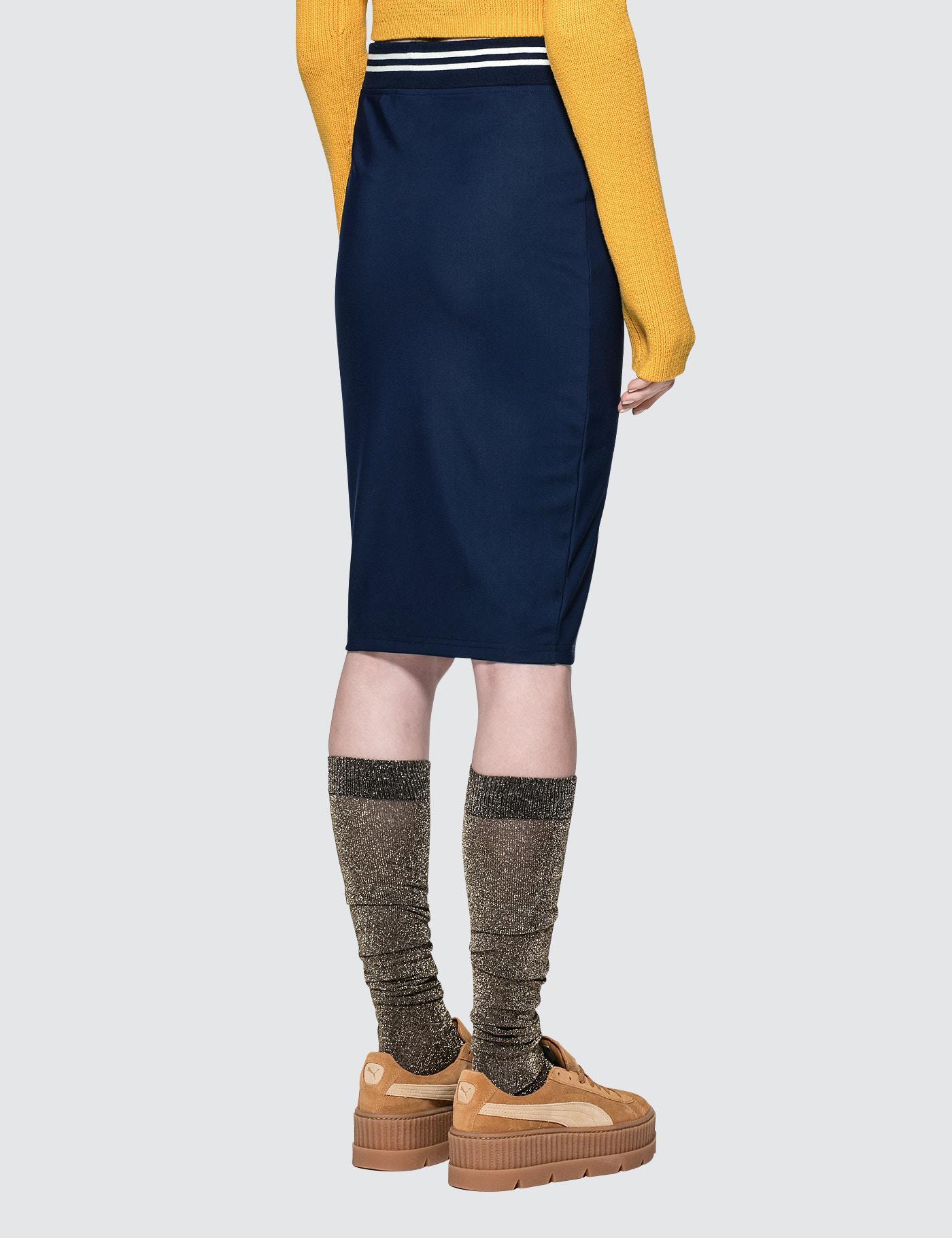 68f44f419 PUMA Fenty By Rihanna Varsity Pencil Skirt in Blue - Lyst