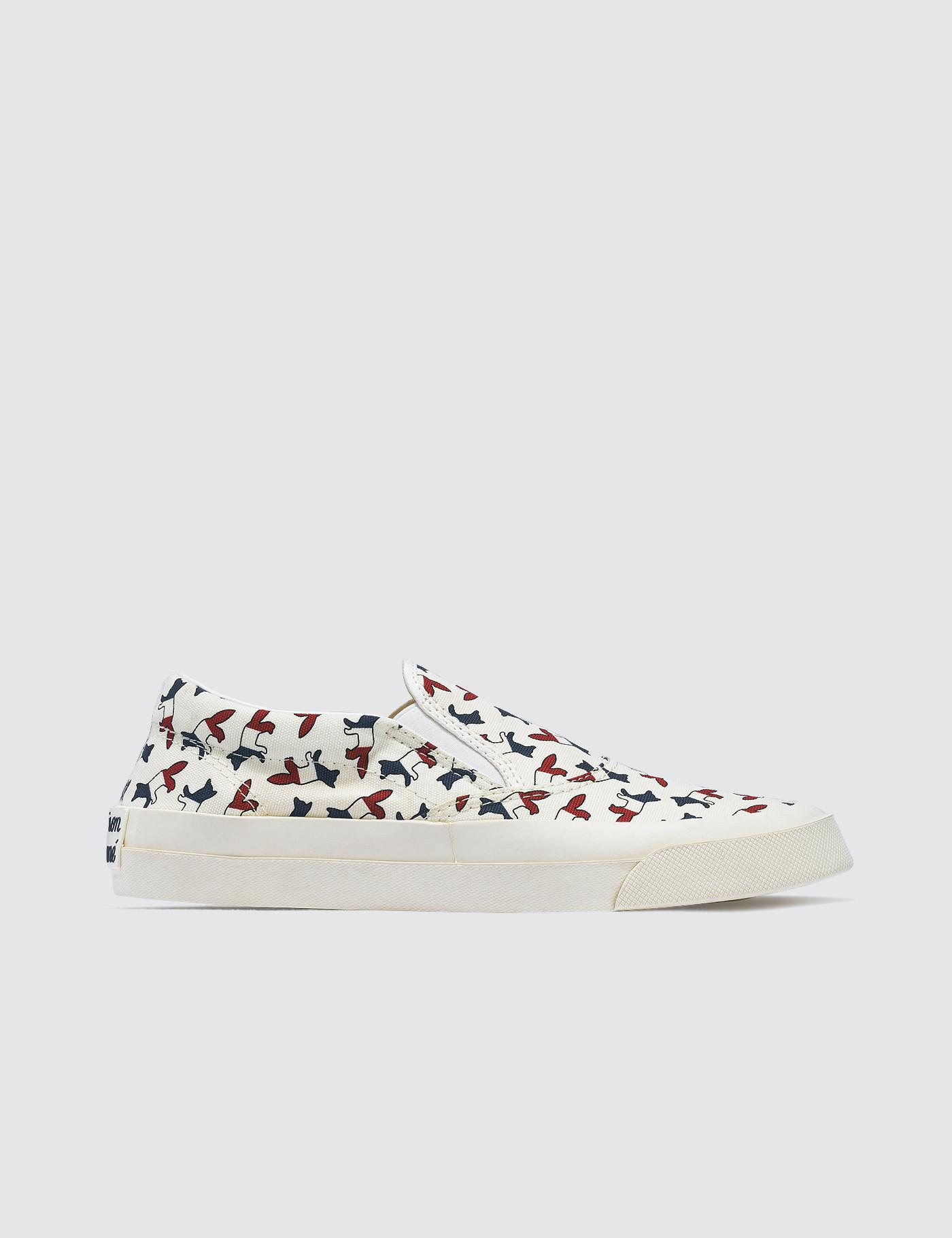 White Tricolor Fox Slip-On Sneakers Maison Kitsun hWHwNtBZ