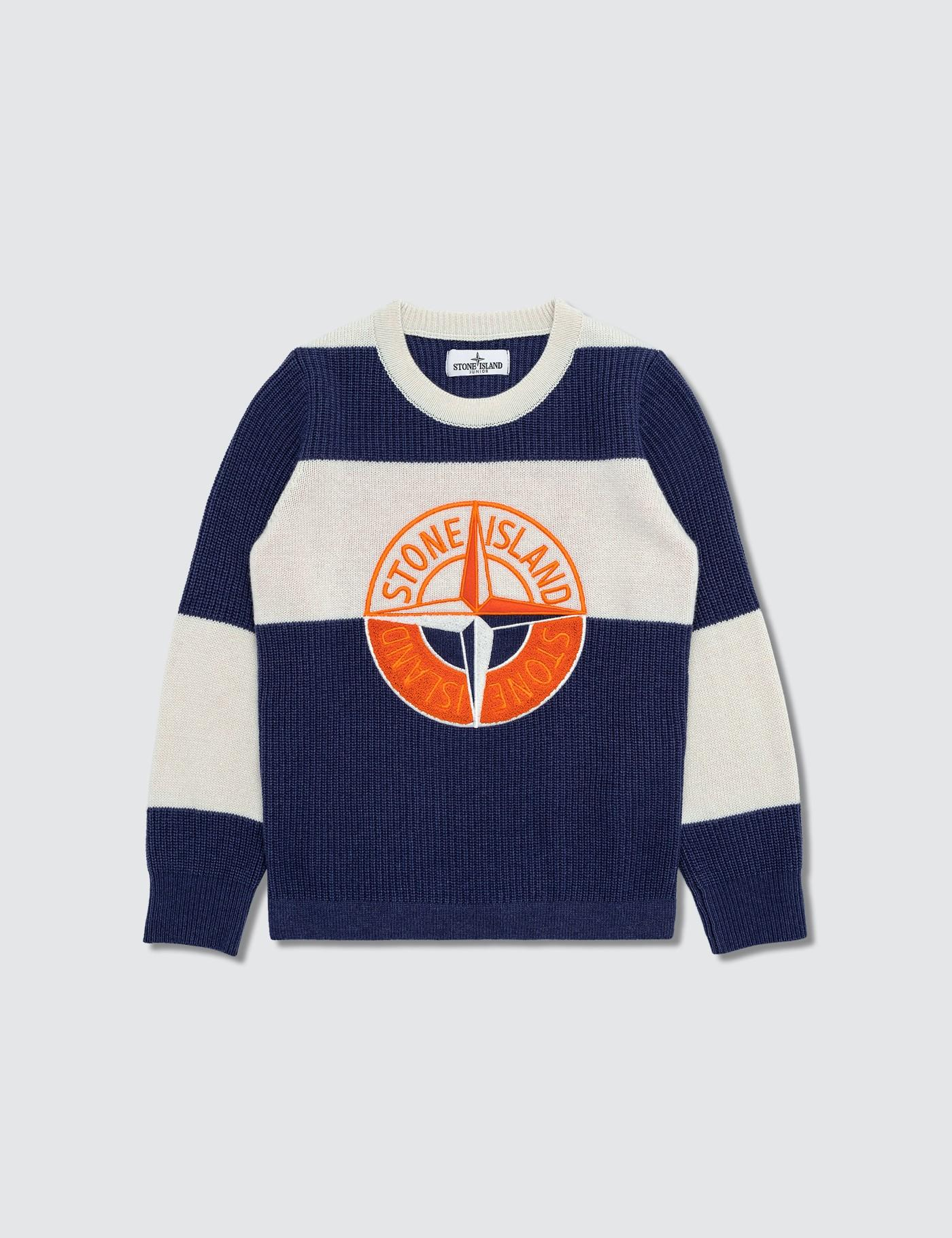 Stone Island Wool Compass Logo Knitted Jumper Infants In