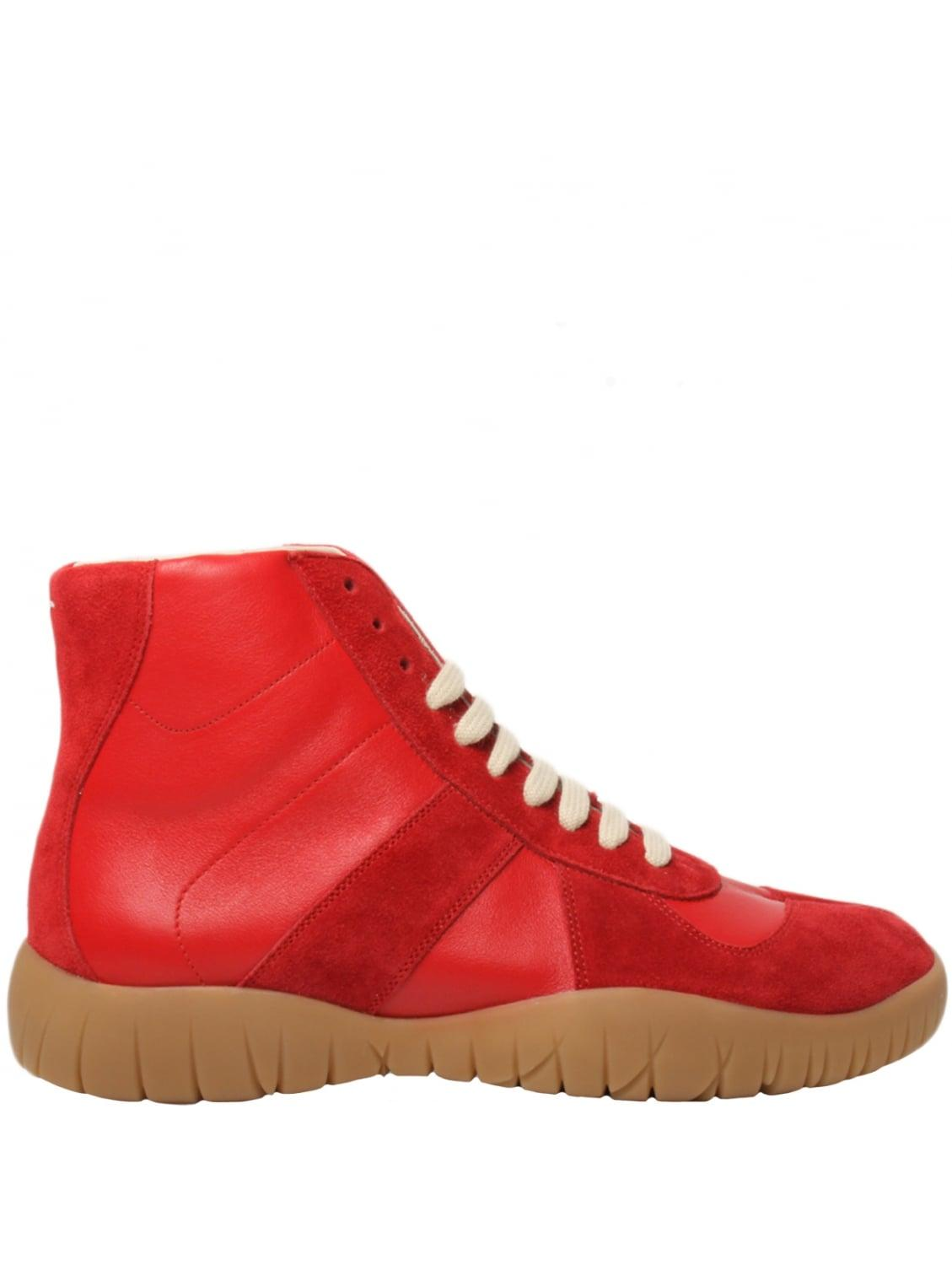 Maison margiela Tabi Replica Trainer Boots Red in Red