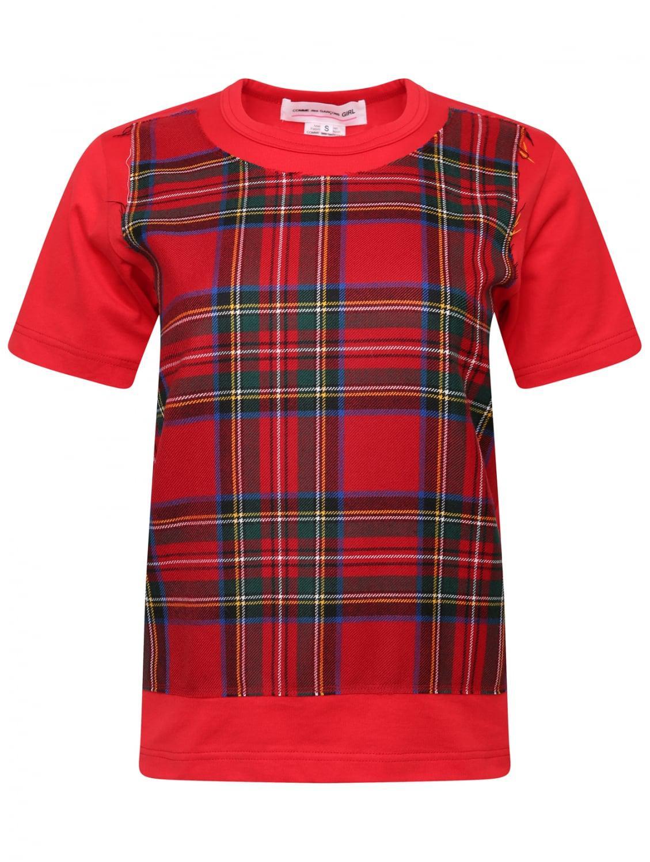 lyst comme des gar ons tartan front t shirt red in red. Black Bedroom Furniture Sets. Home Design Ideas