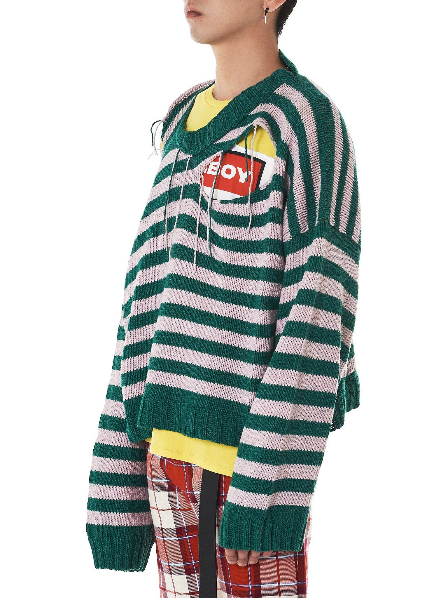 Charles Jeffrey Loverboy distressed oversized striped jumper Find Great Online Discount Affordable Official Site Online 0v0N2dxYw