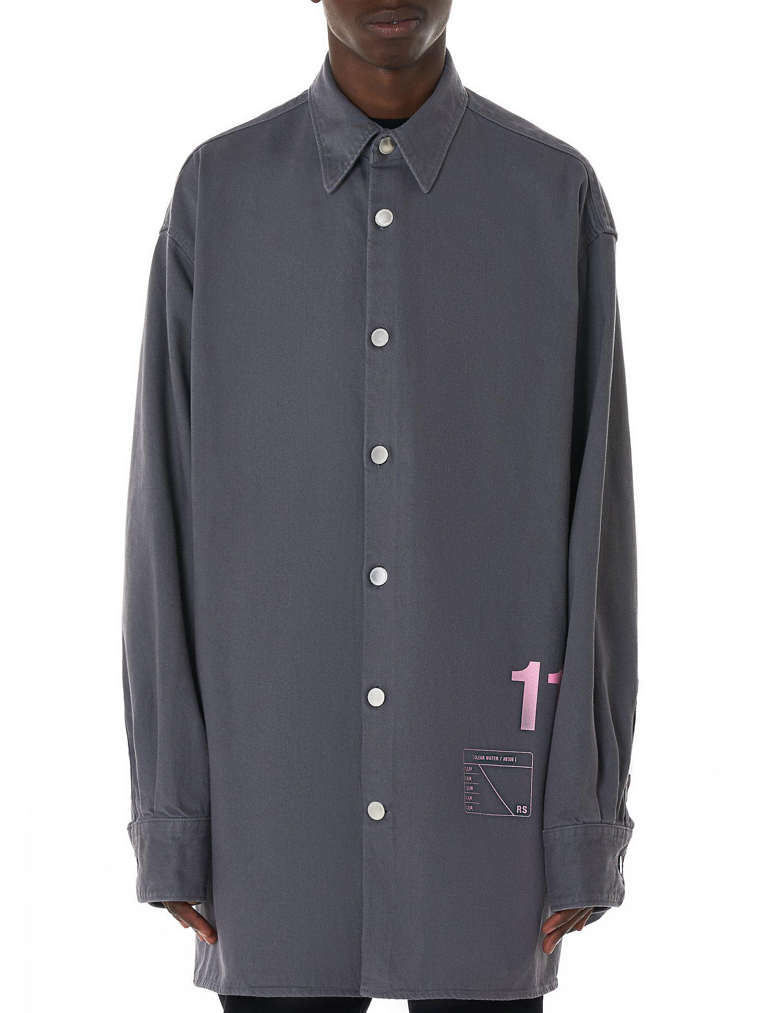 bf786b6a1a Lyst - Raf Simons Easy Fit Denim Shirt in Gray for Men