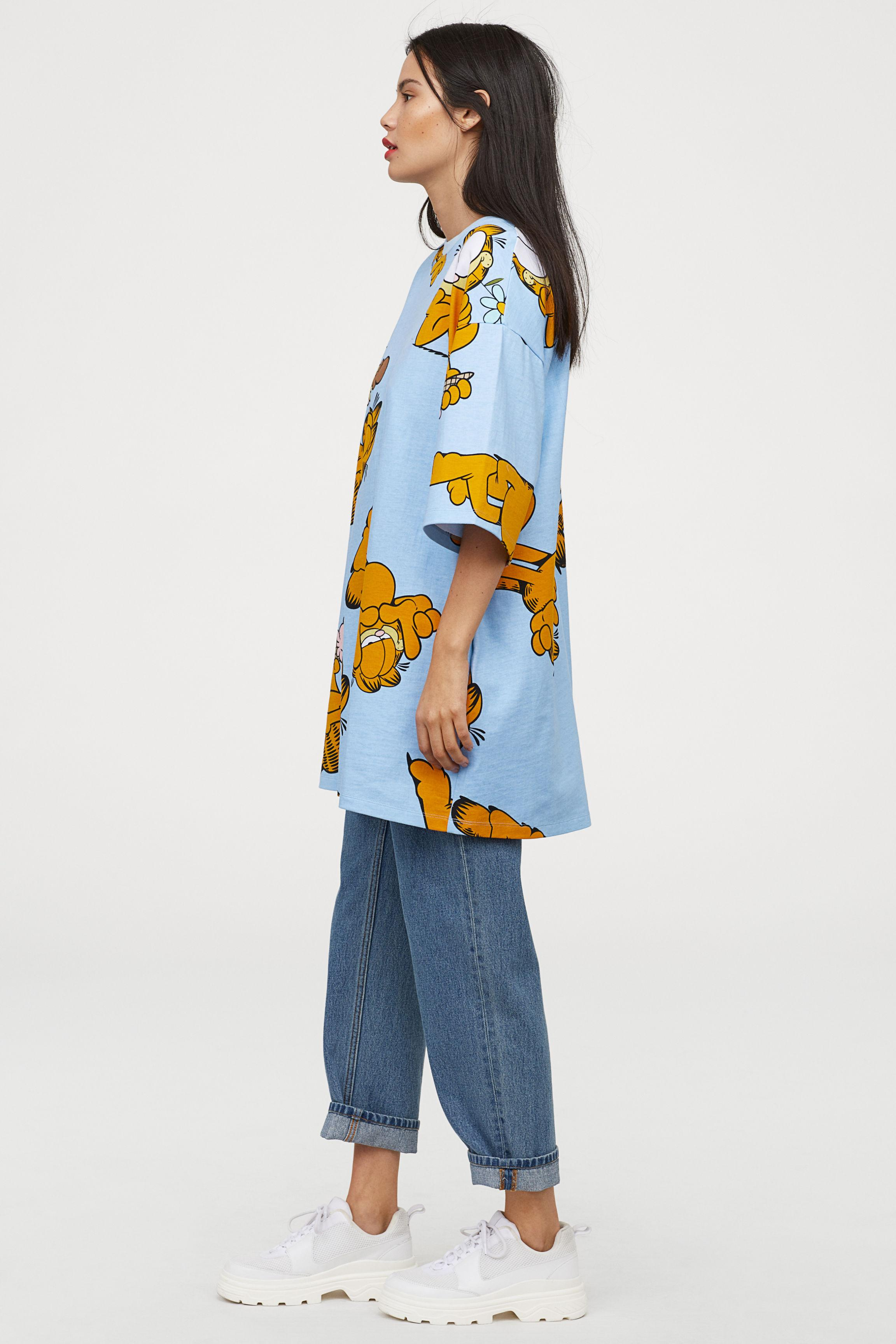 c6331589d0ae H&M Wide T-shirt Dress in Blue - Lyst