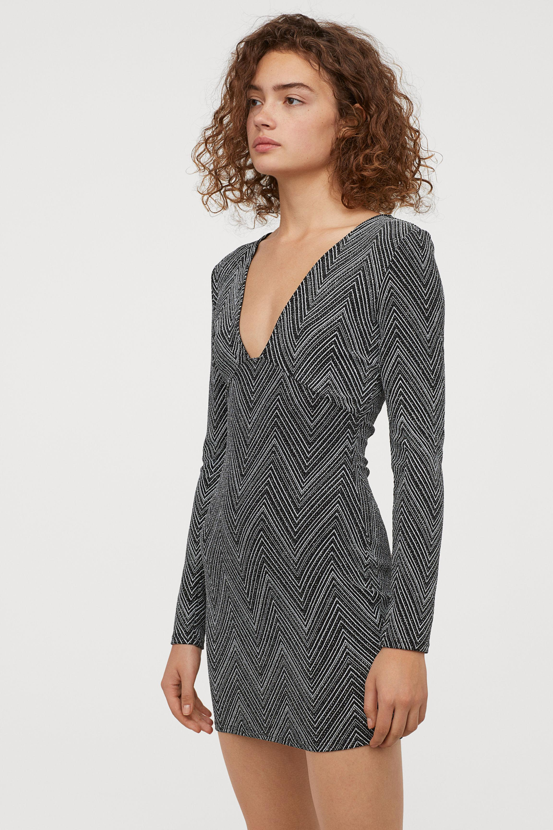 d40c2152 H&M Glittery Dress in Black - Lyst