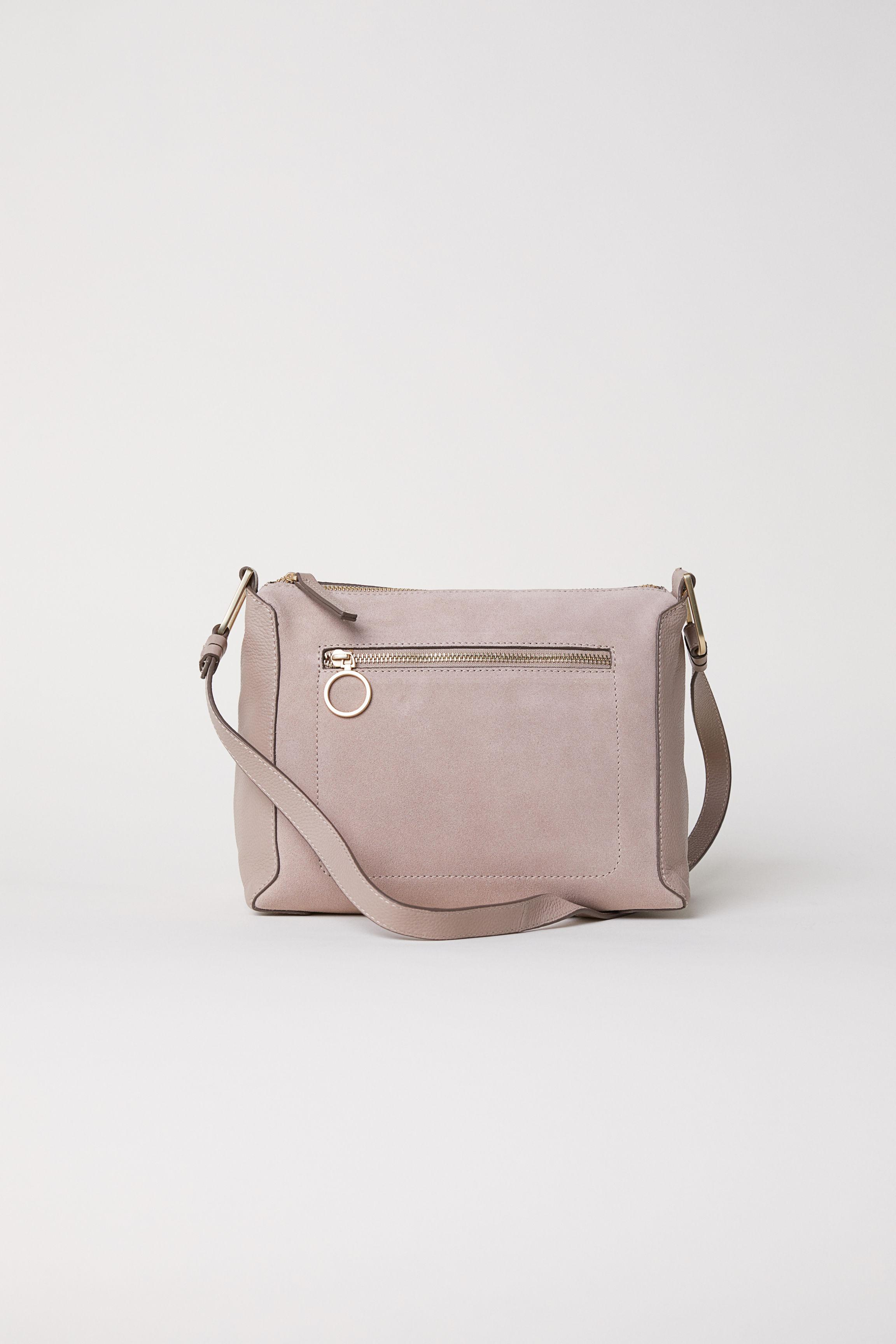 Lyst - H M Suede And Leather Shoulder Bag in Natural 7c47f682cfc43