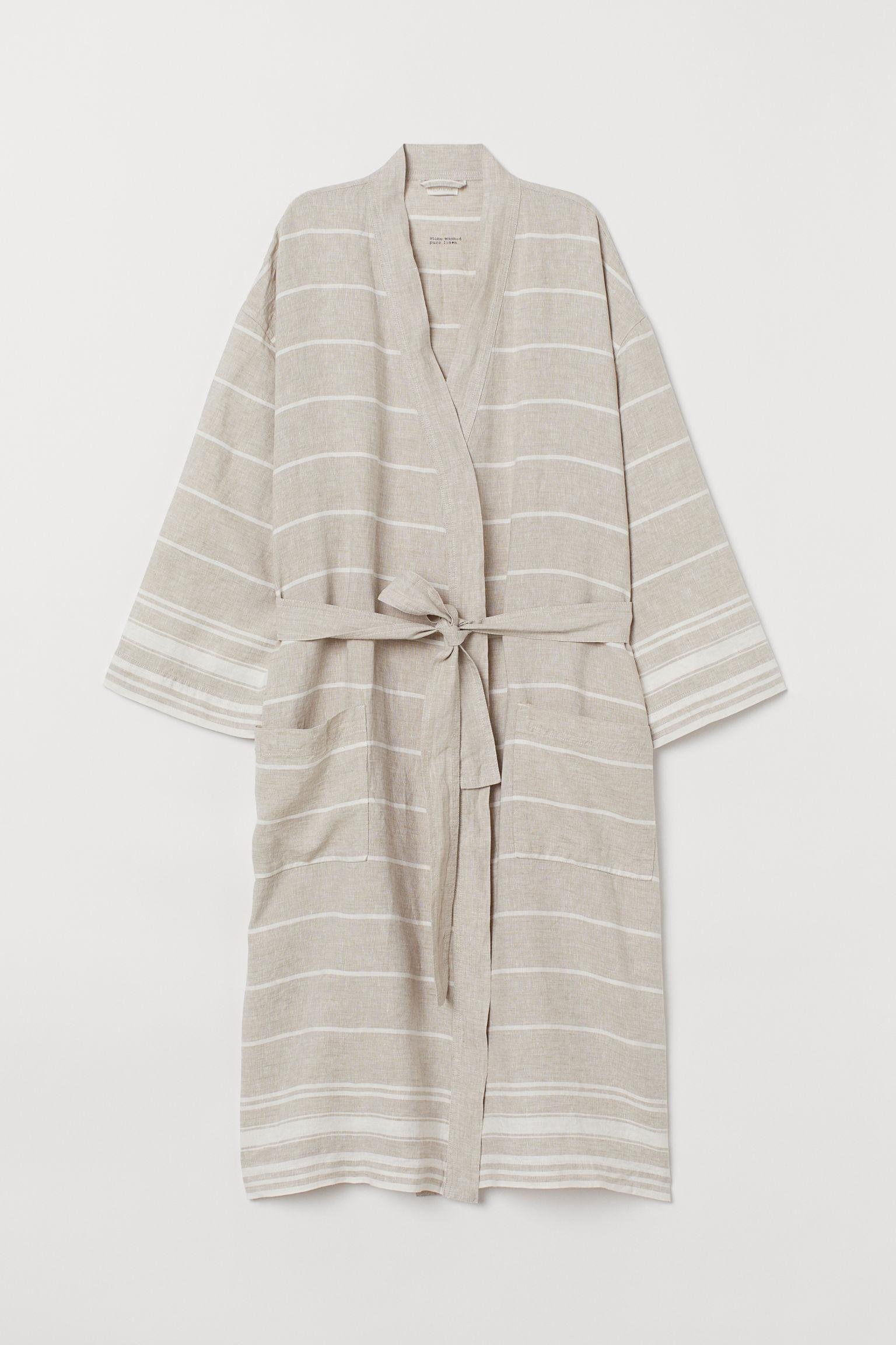 009564e7a7 H M Washed Linen Dressing Gown in Natural - Lyst