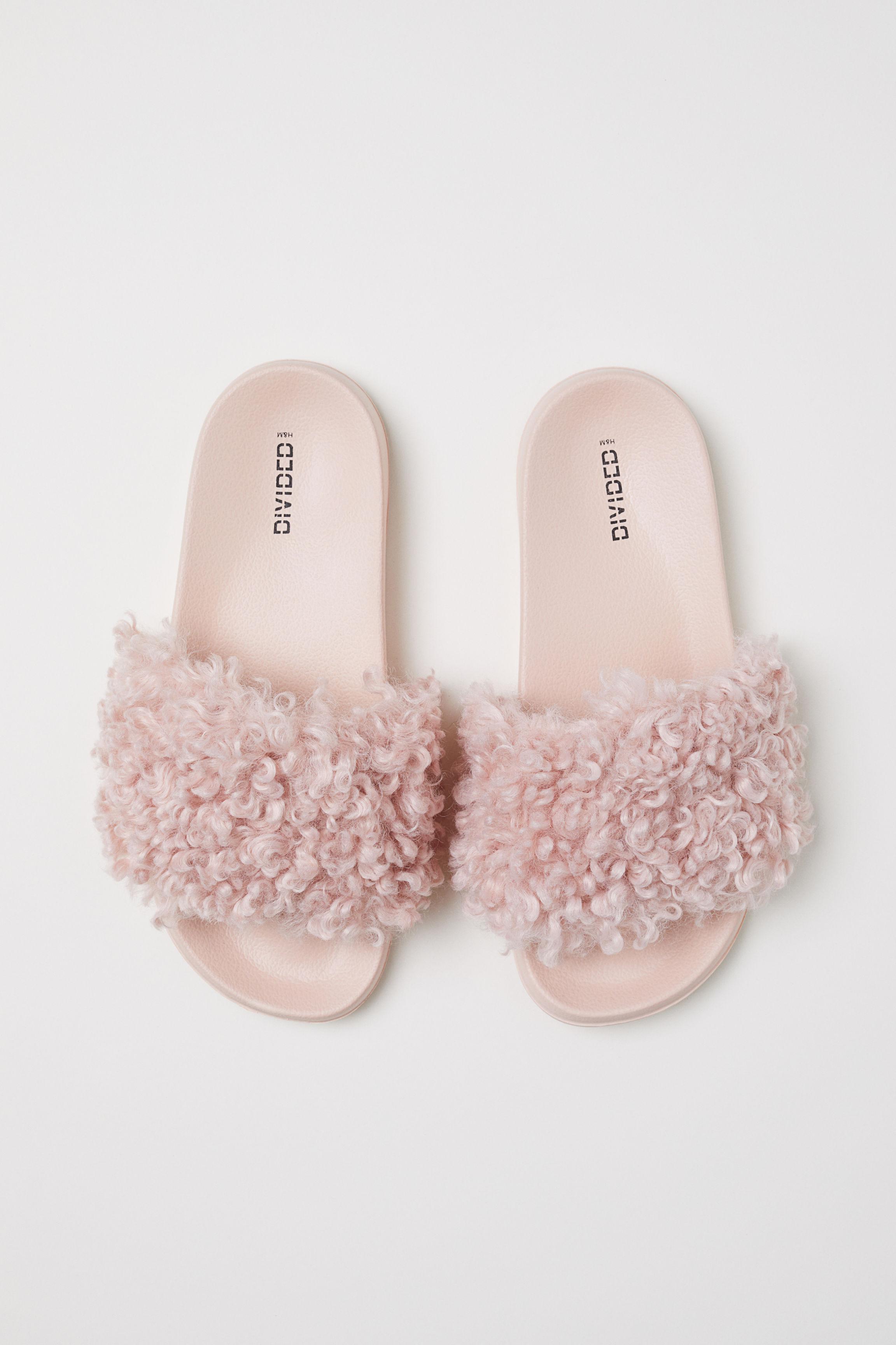 lyst h m faux fur slides in pink