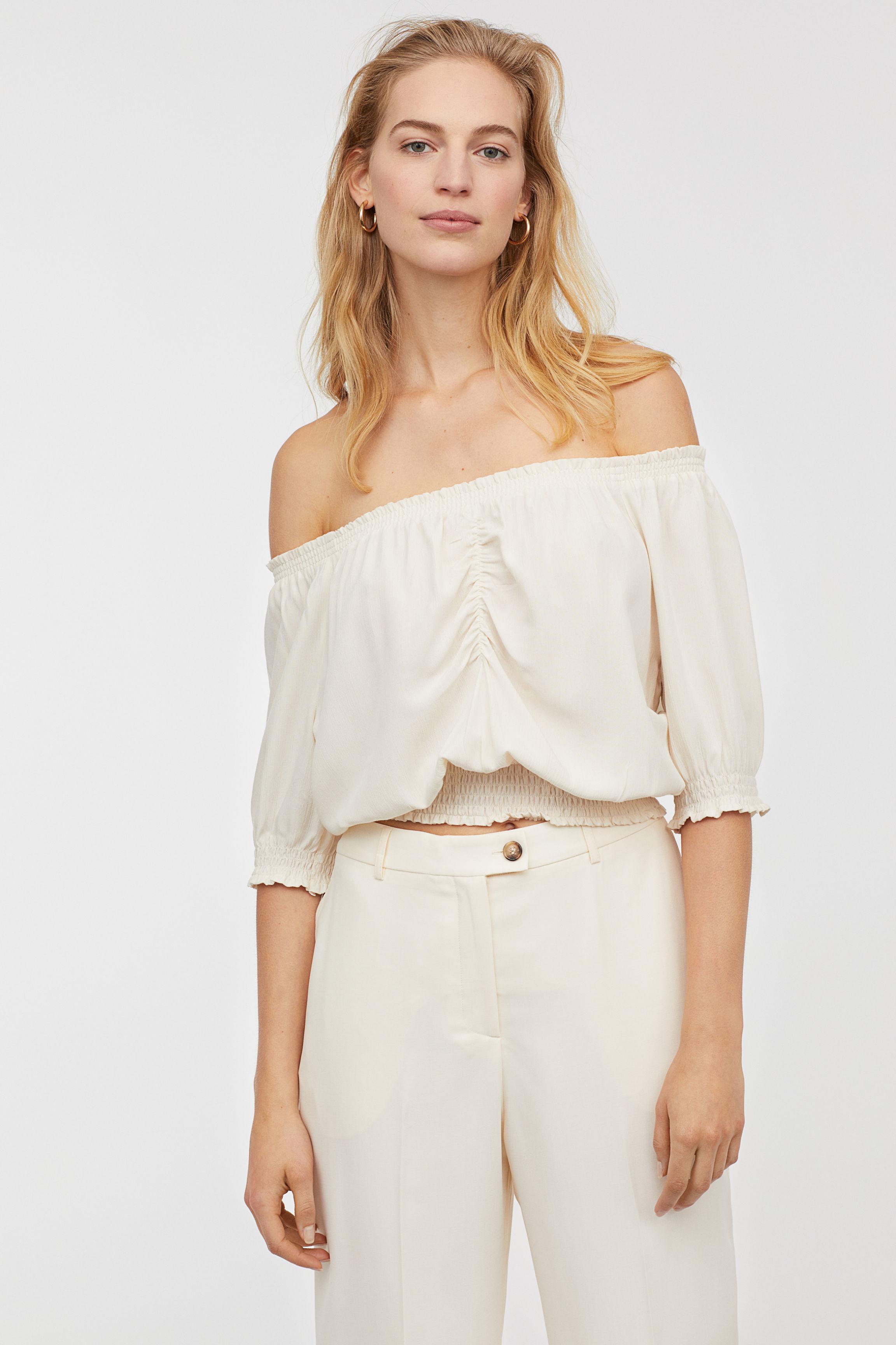5c1615b7291 H&M - White Short Off-the-shoulder Blouse - Lyst