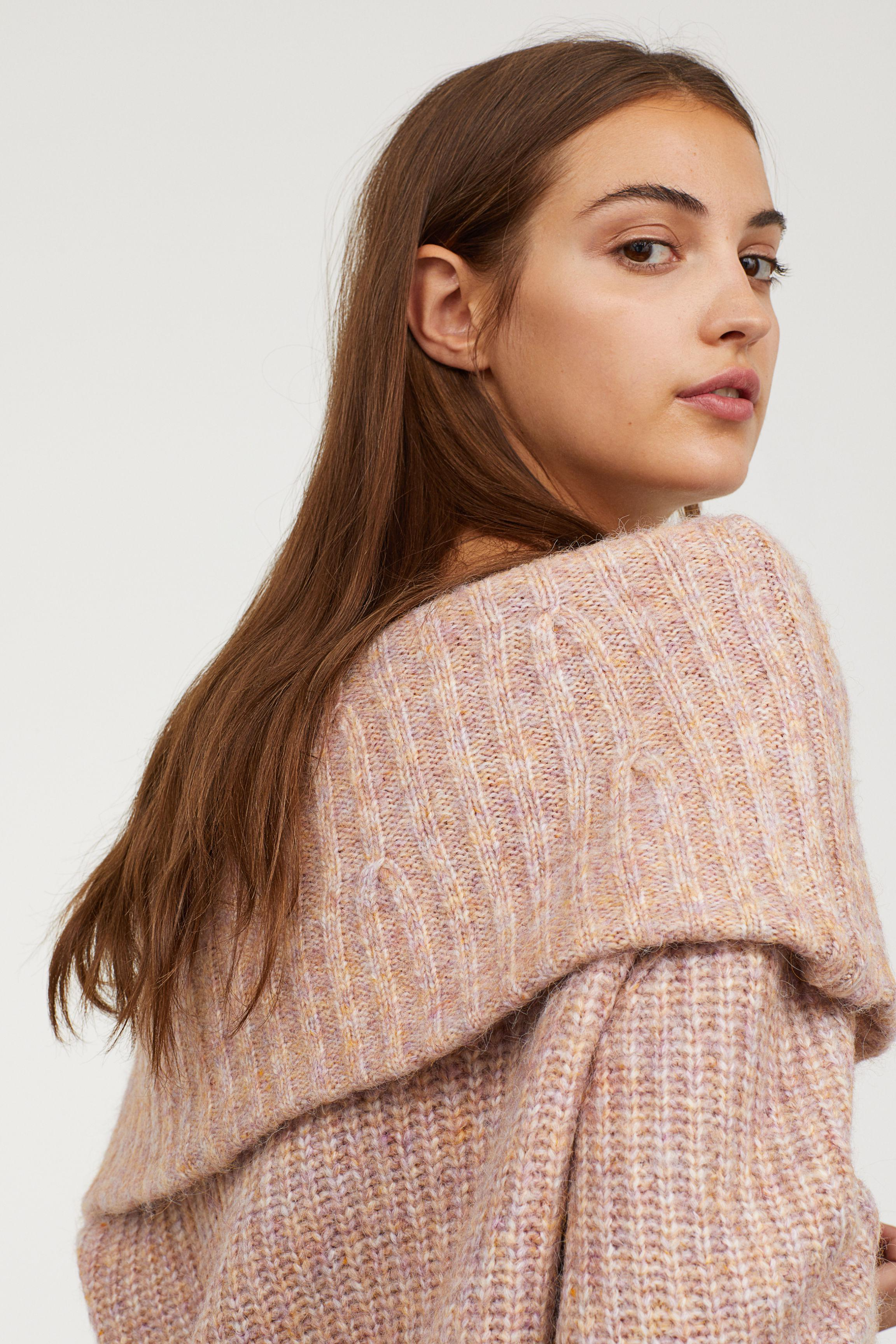 46283534791a Lyst - H M Off-the-shoulder Sweater in Pink