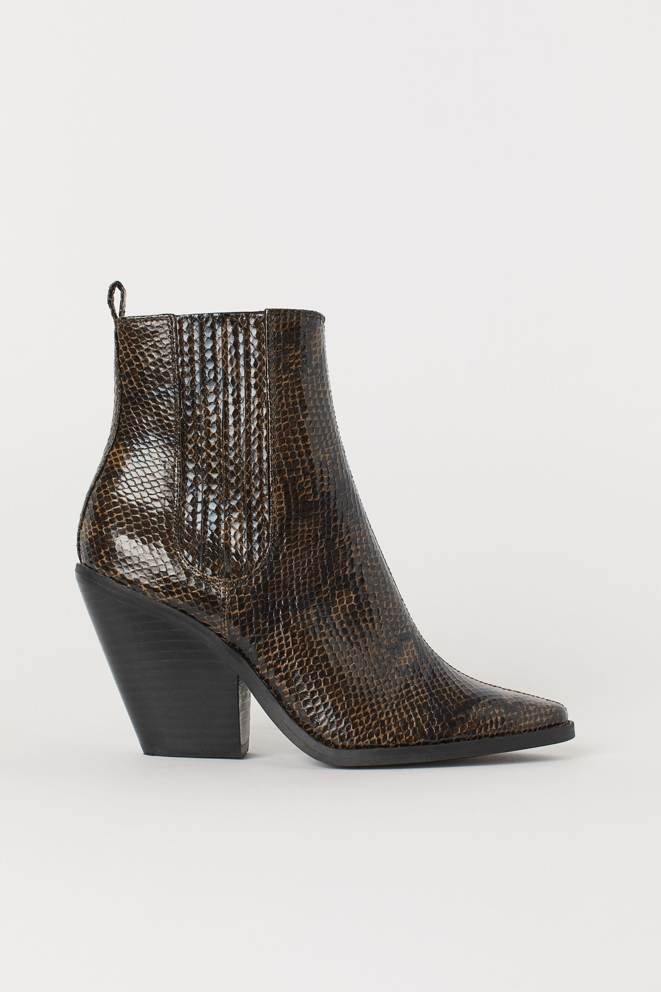 4aa505c2d02 H&M - Brown Snakeskin-pattern Ankle Boots - Lyst