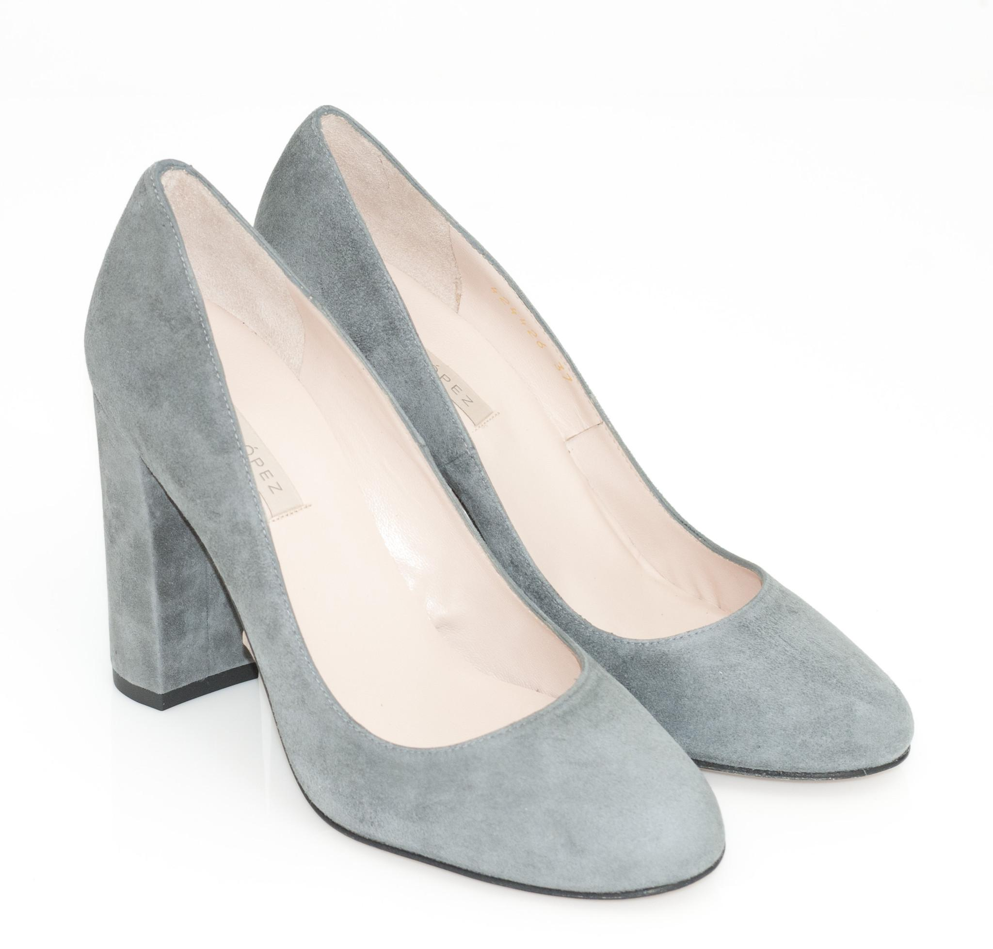 Grey Round Toe Court Shoes
