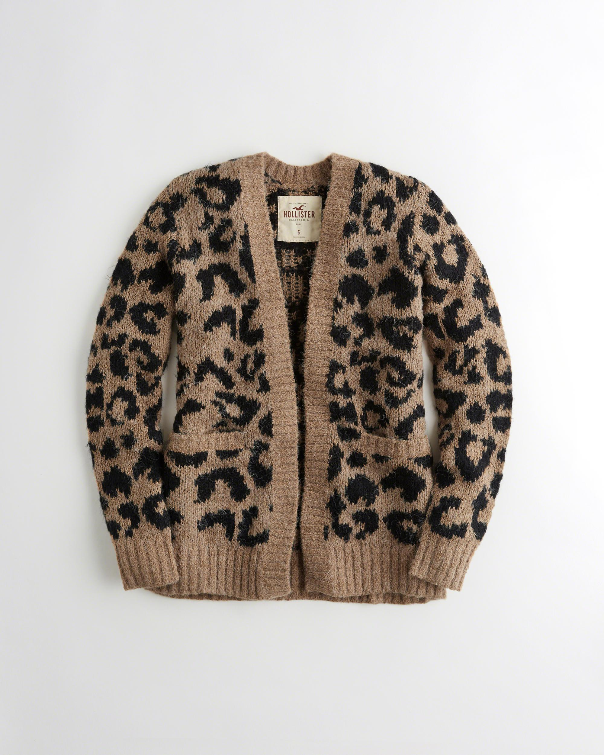 Hollister Leopard Fuzzy Knit Cardigan - Save 52% | Lyst