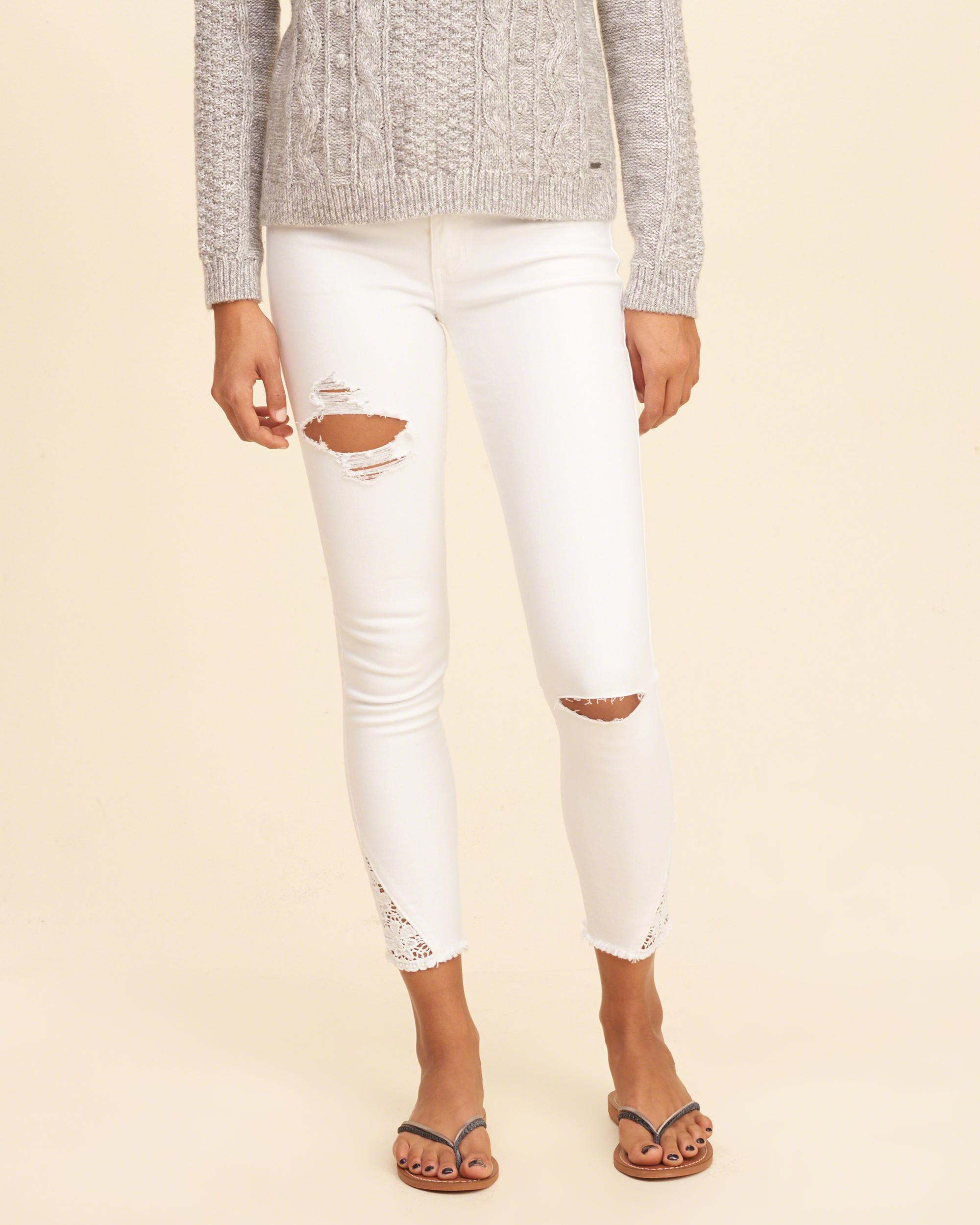 Lyst - Hollister Low-rise Crop Super Skinny Jeans in White