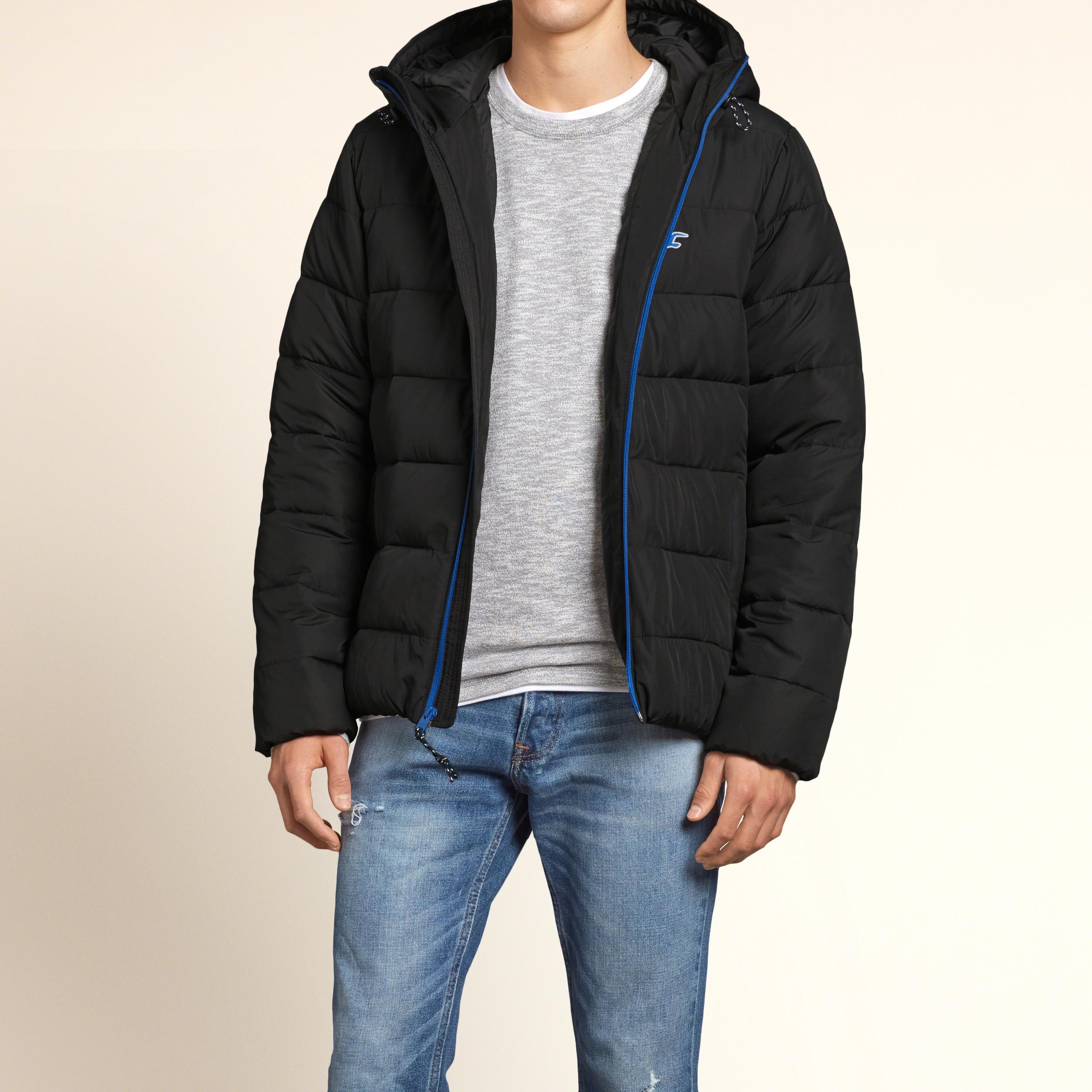 lyst hollister hooded puffer jacket in black for men