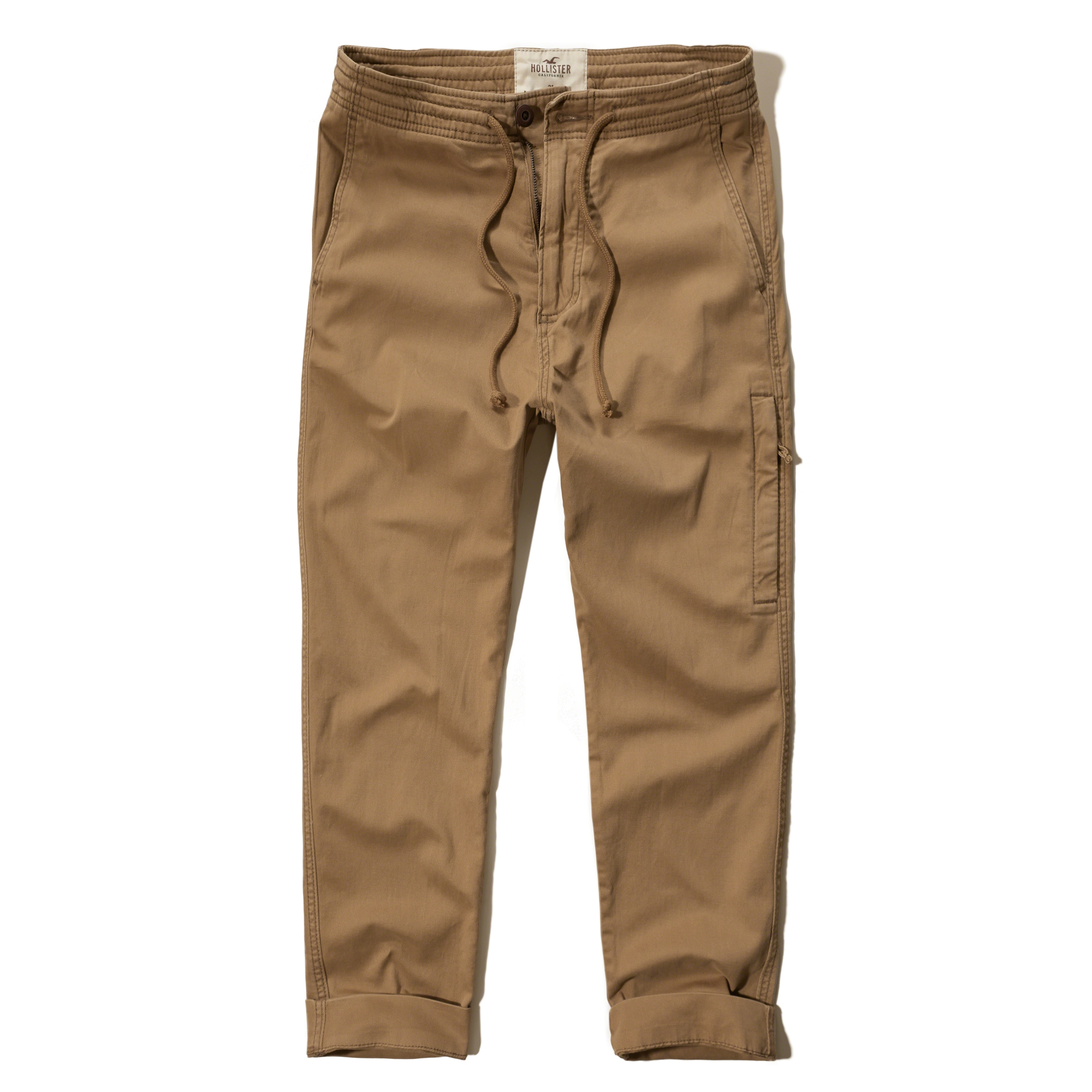 Hollister Zipper Twill Jogger Pants in Natural for Men | Lyst