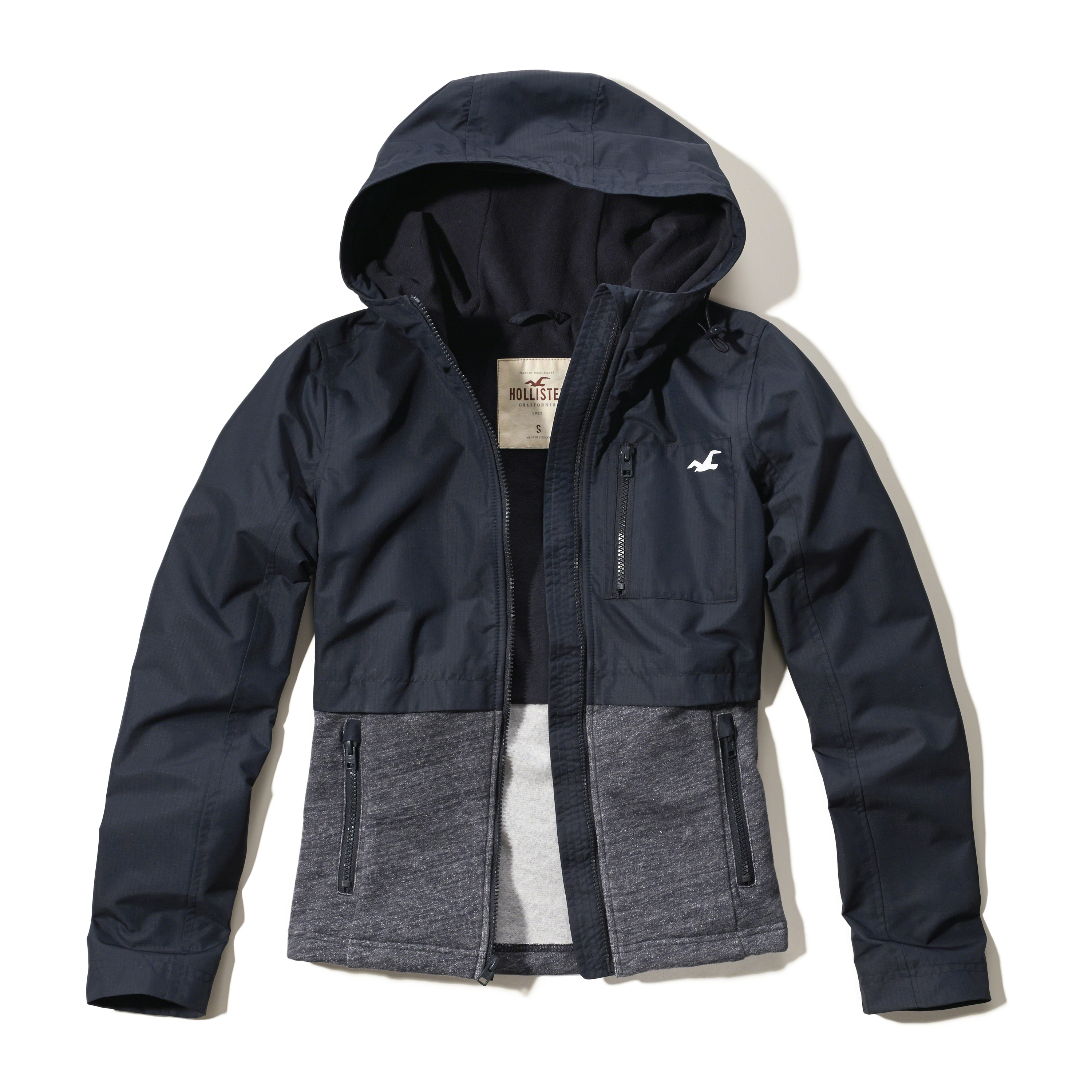Hollister Sweaters Hollister Hoodies Hollister Shirts Hollister Jacket Hollister Pants Hollister Jeans: Hollister Fleece Mixed Nylon Jacket In Black