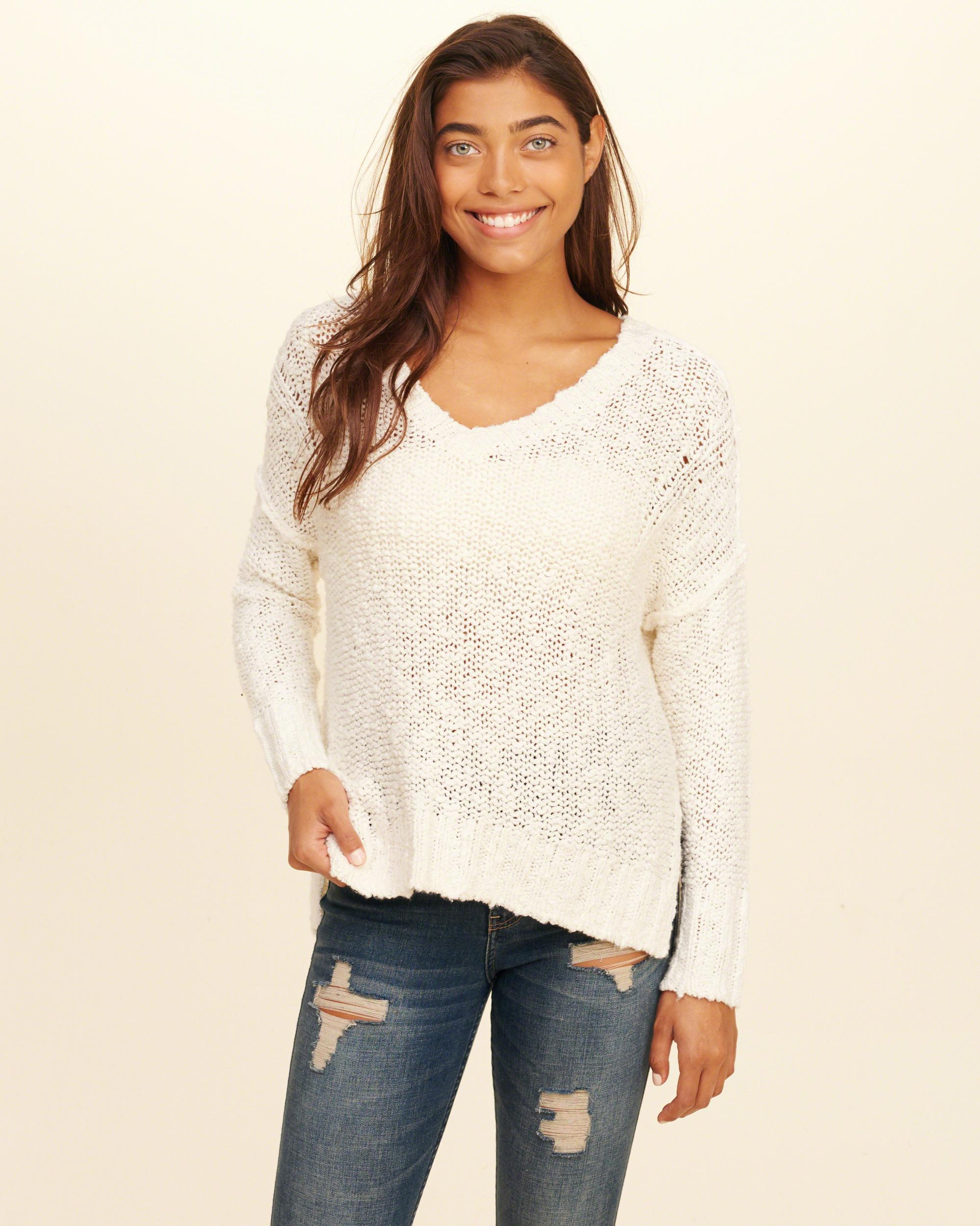 Hollister Oversized Open Back Sweater in White | Lyst