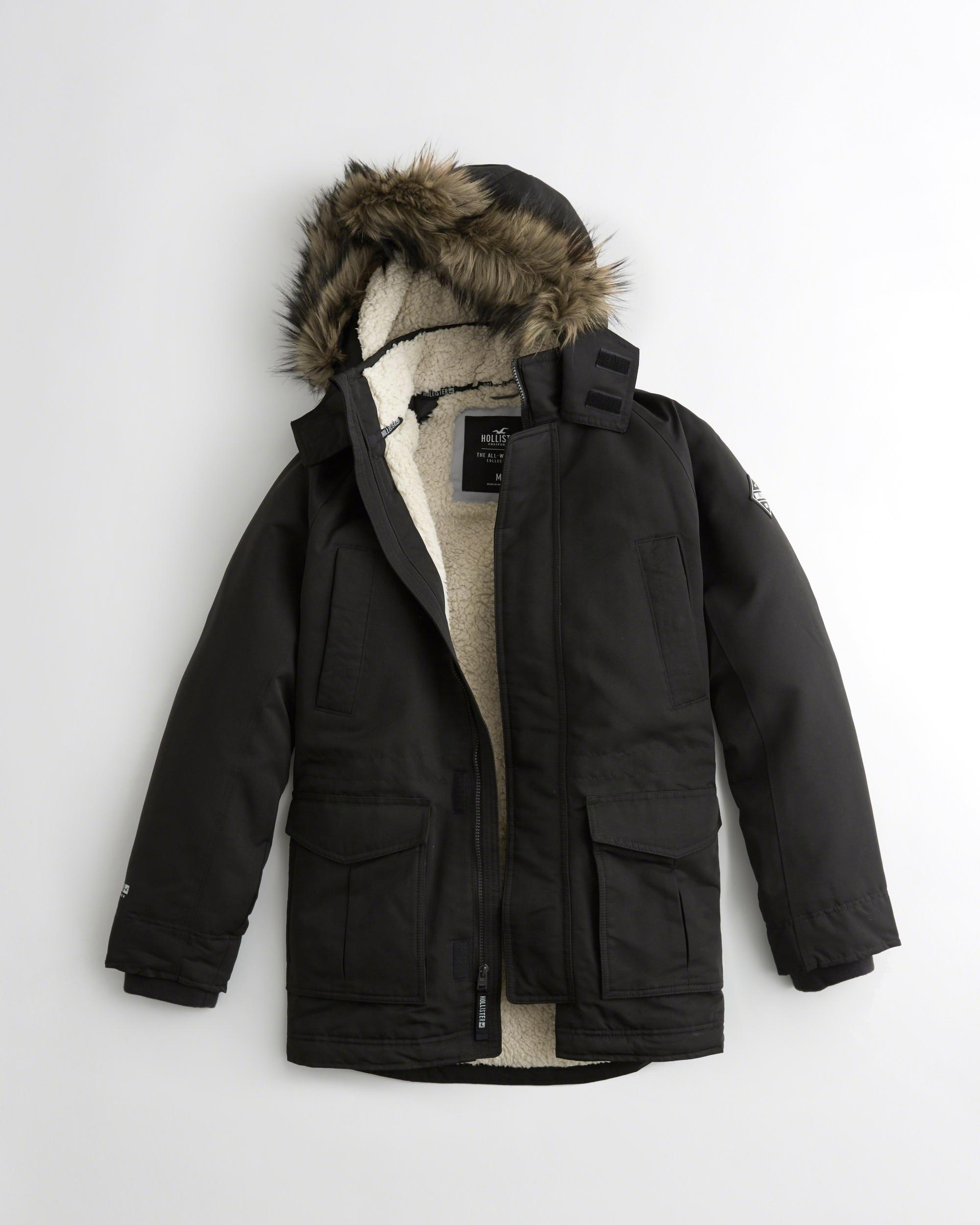 Hollister All-weather Sherpa-lined Parka in Black for Men - Save ...