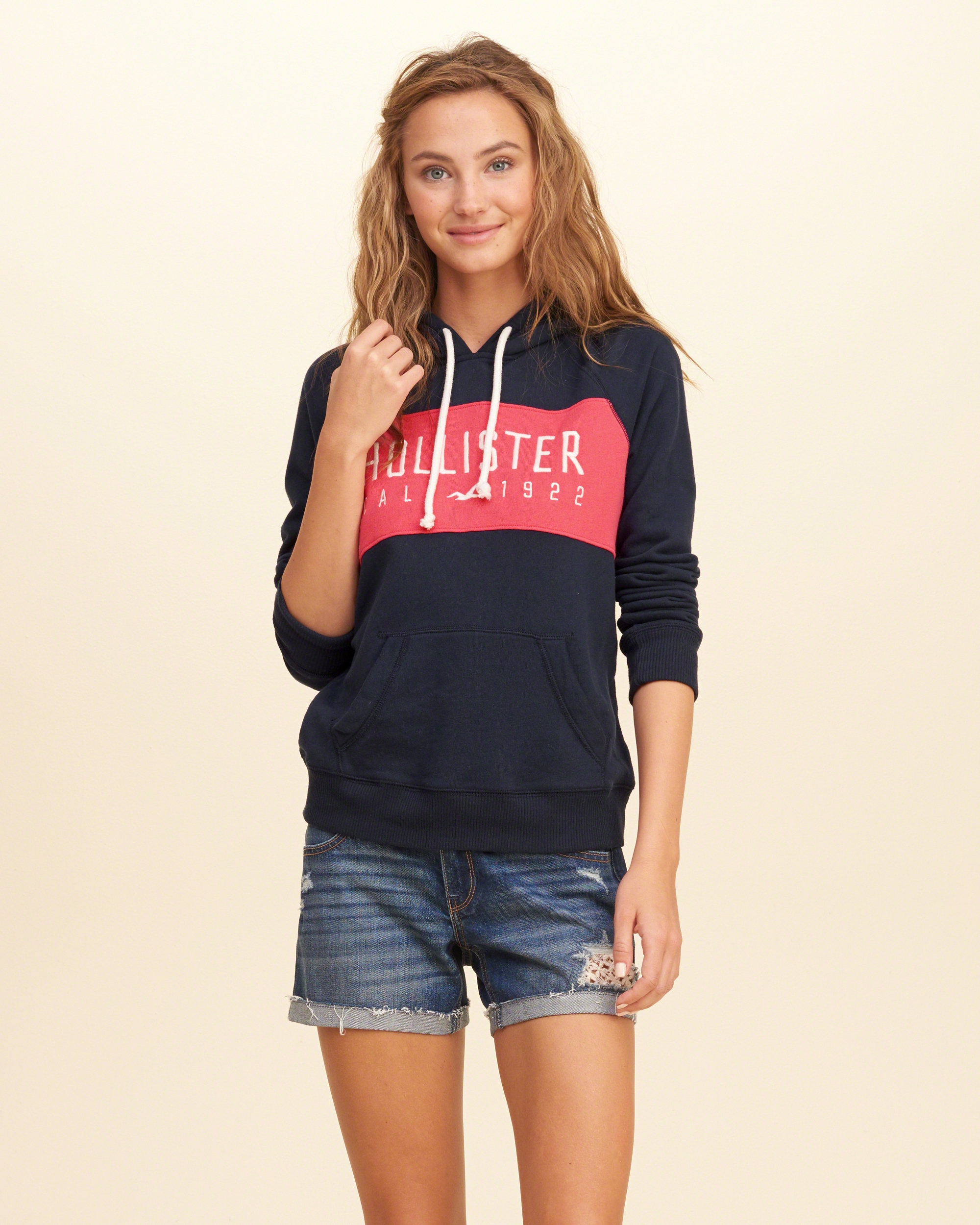 Hollister Colorblock Logo Graphic Hoodie In Blue