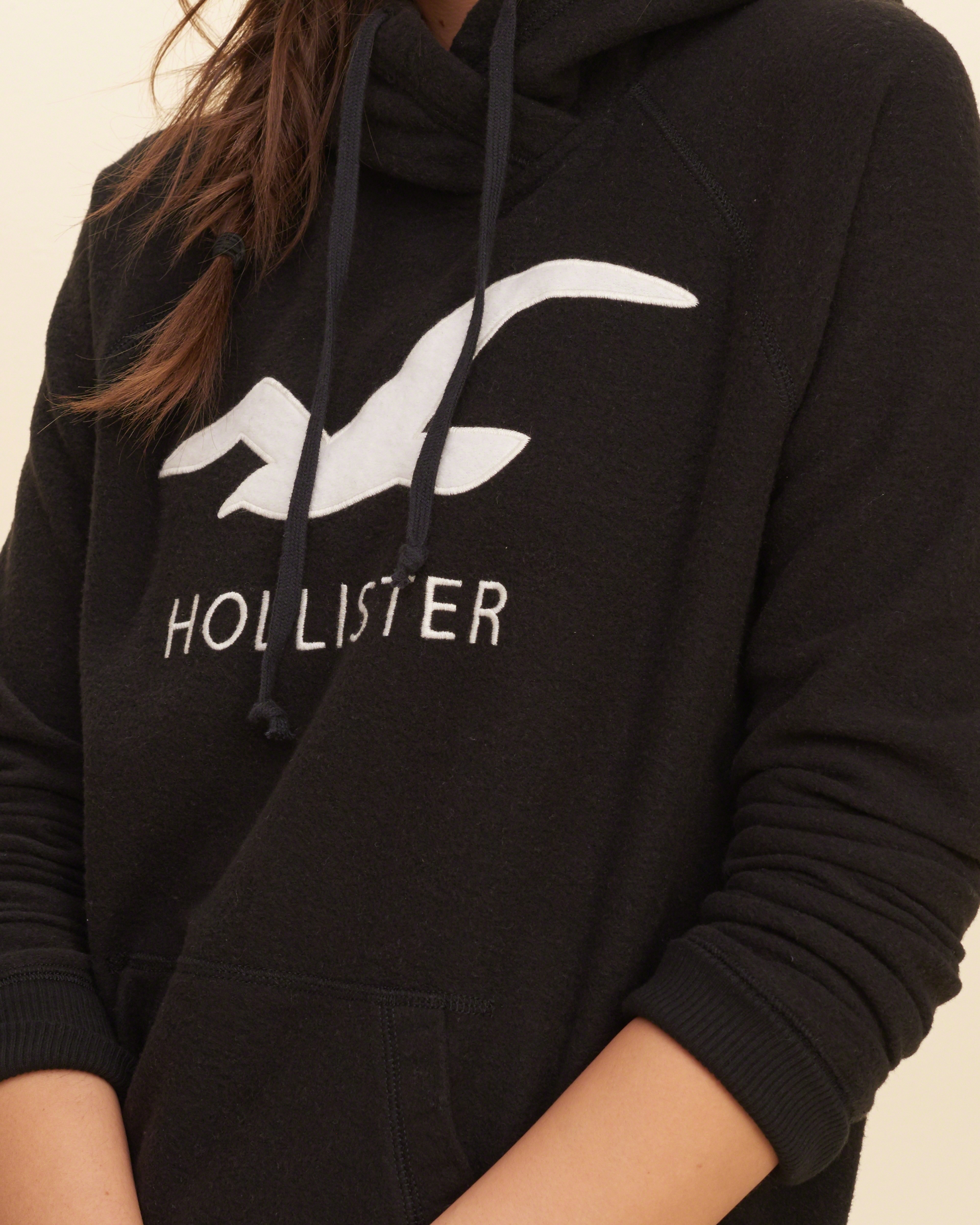 Lyst - Hollister Logo Graphic Hoodie in Black