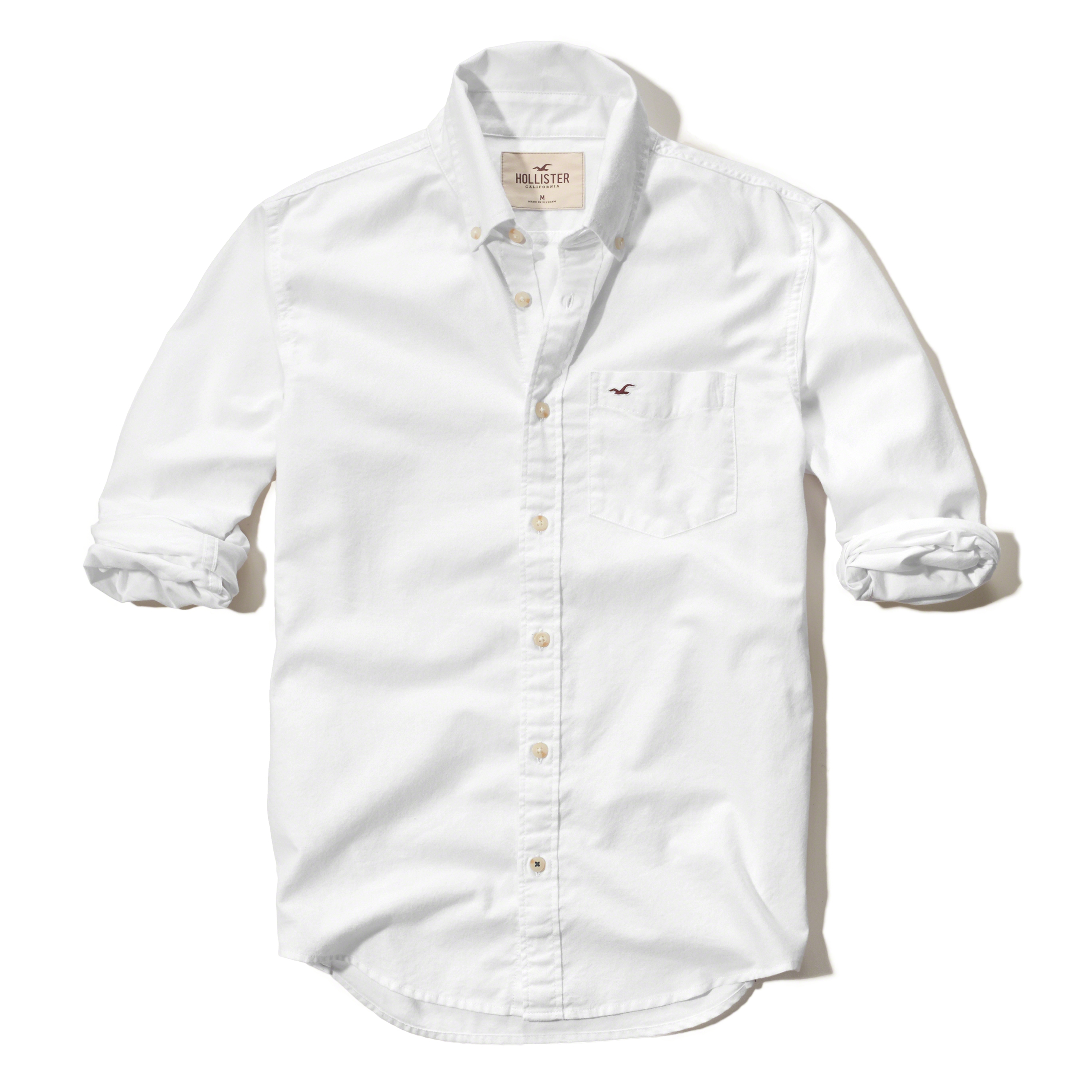 Hollister solid oxford shirt in white for men lyst for White oxford shirt mens