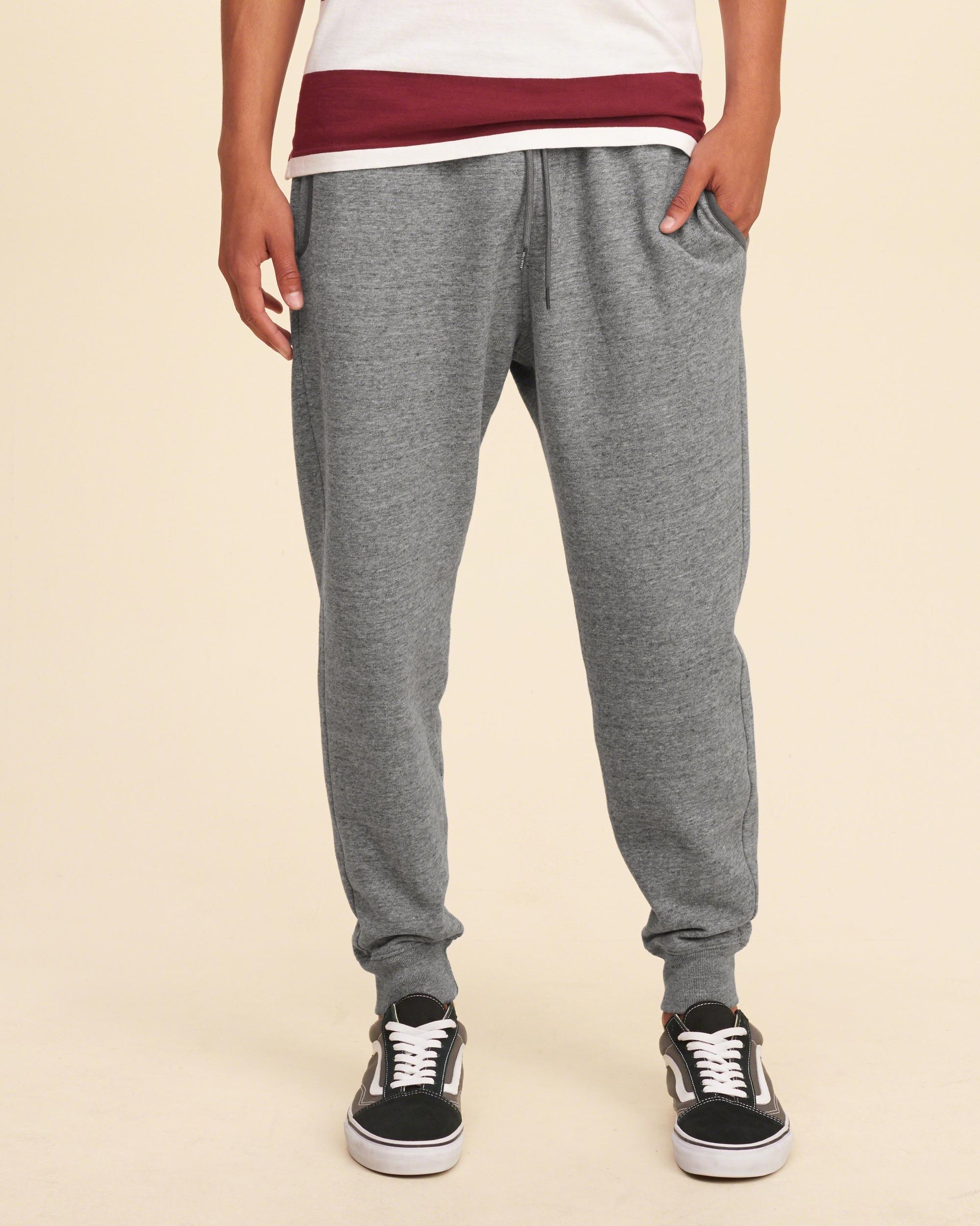Hollister Textured Fleece Jogger Pants in Gray for Men | Lyst
