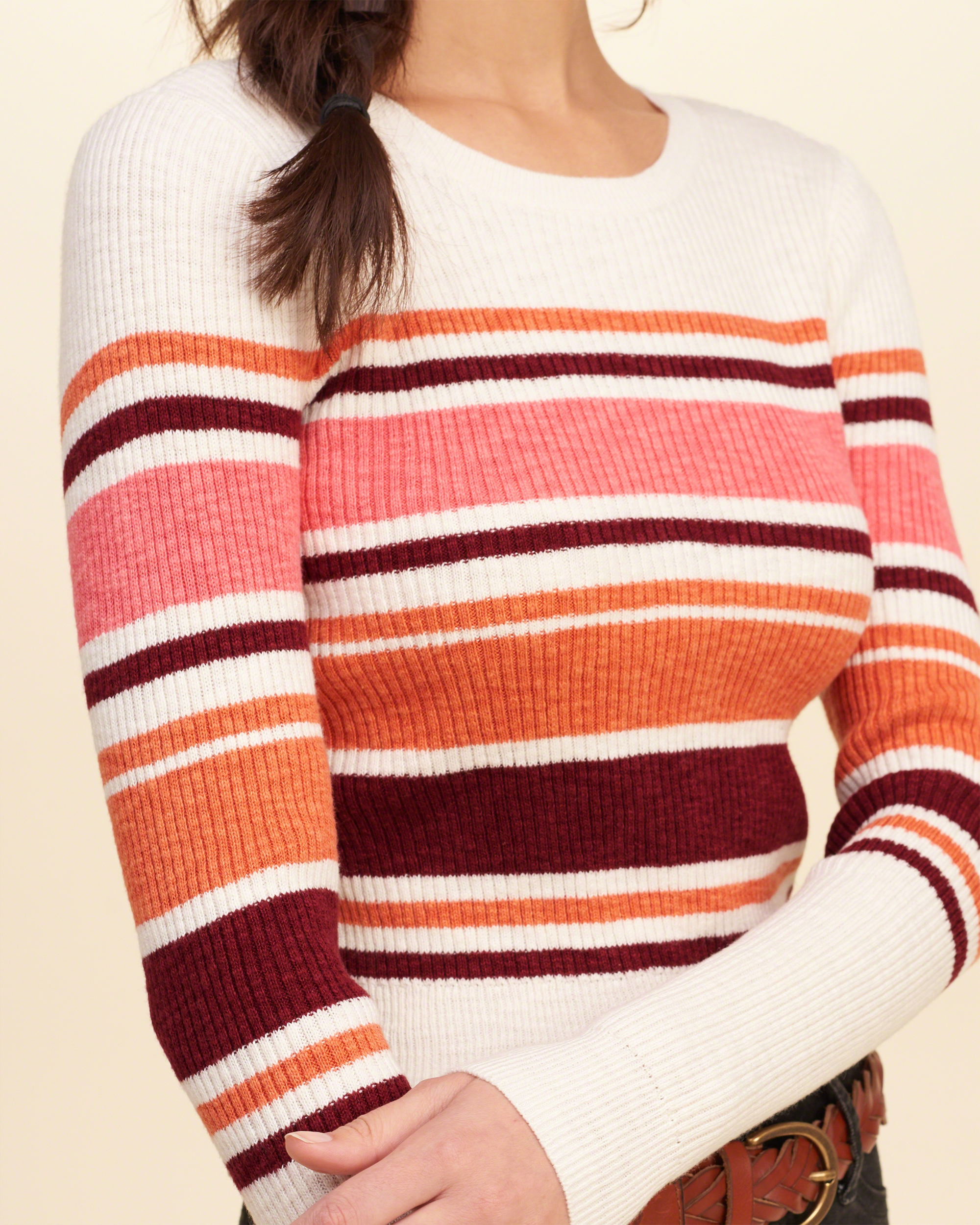 Hollister Oberbekleidung Returns Exchanges Hollister Pullover Hollister Hoodies Hollister Jeans: Hollister Cotton Stripe Cropped Ribbed Sweater In Red