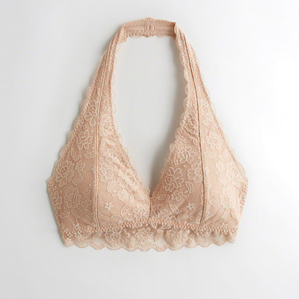 13130d12d1765 Hollister. Women s Natural Girls Lace Halter Bralette With Removable Pads  From Hollister