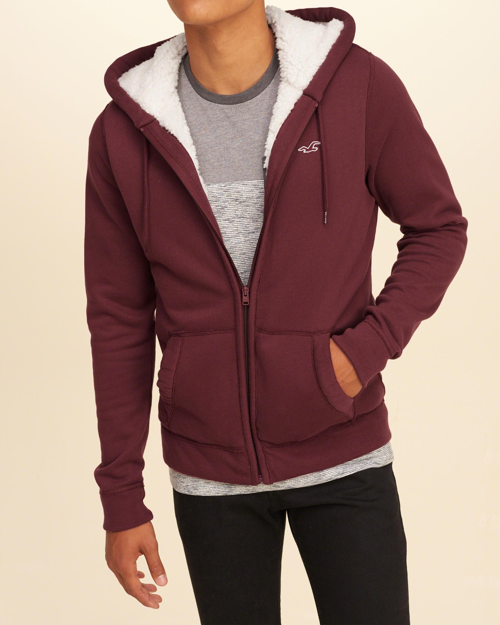 Hollister Iconic Sherpa Lined Hoodie in Red for Men | Lyst