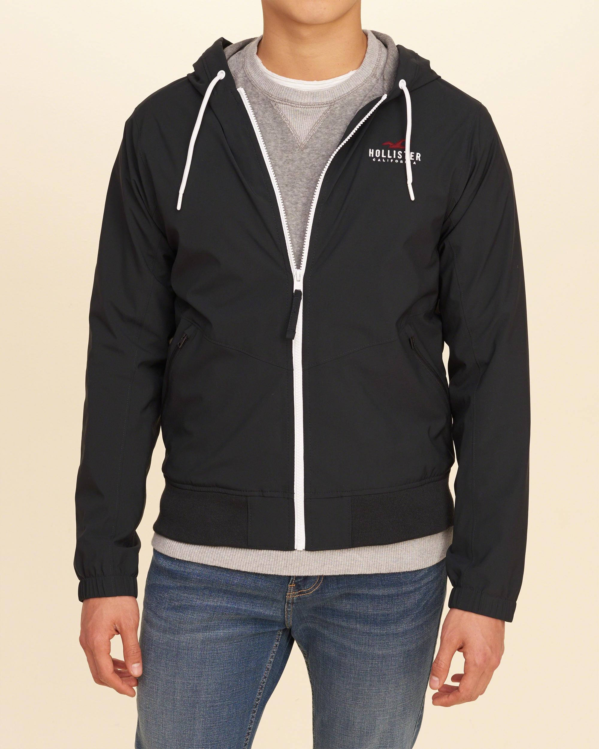 Hollister Jersey Lined Nylon Windbreaker in Black for Men ...