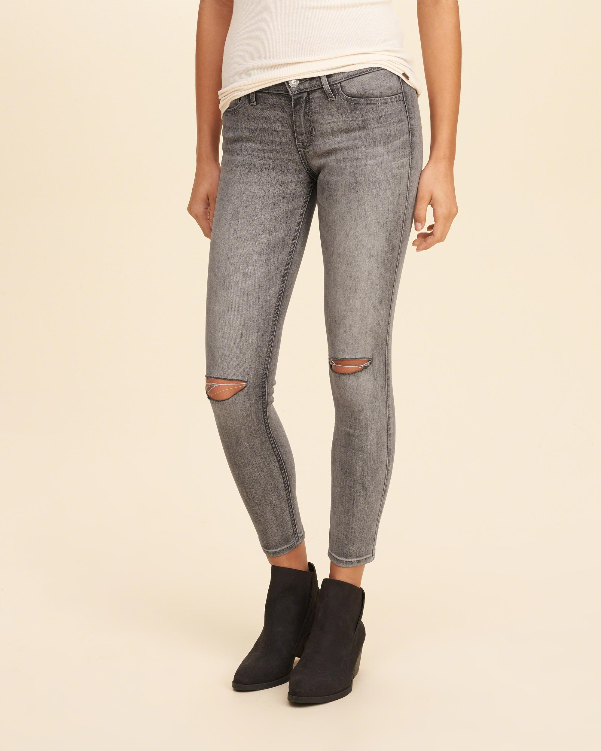 Lyst - Hollister Low-rise Crop Super Skinny Jeans in Gray