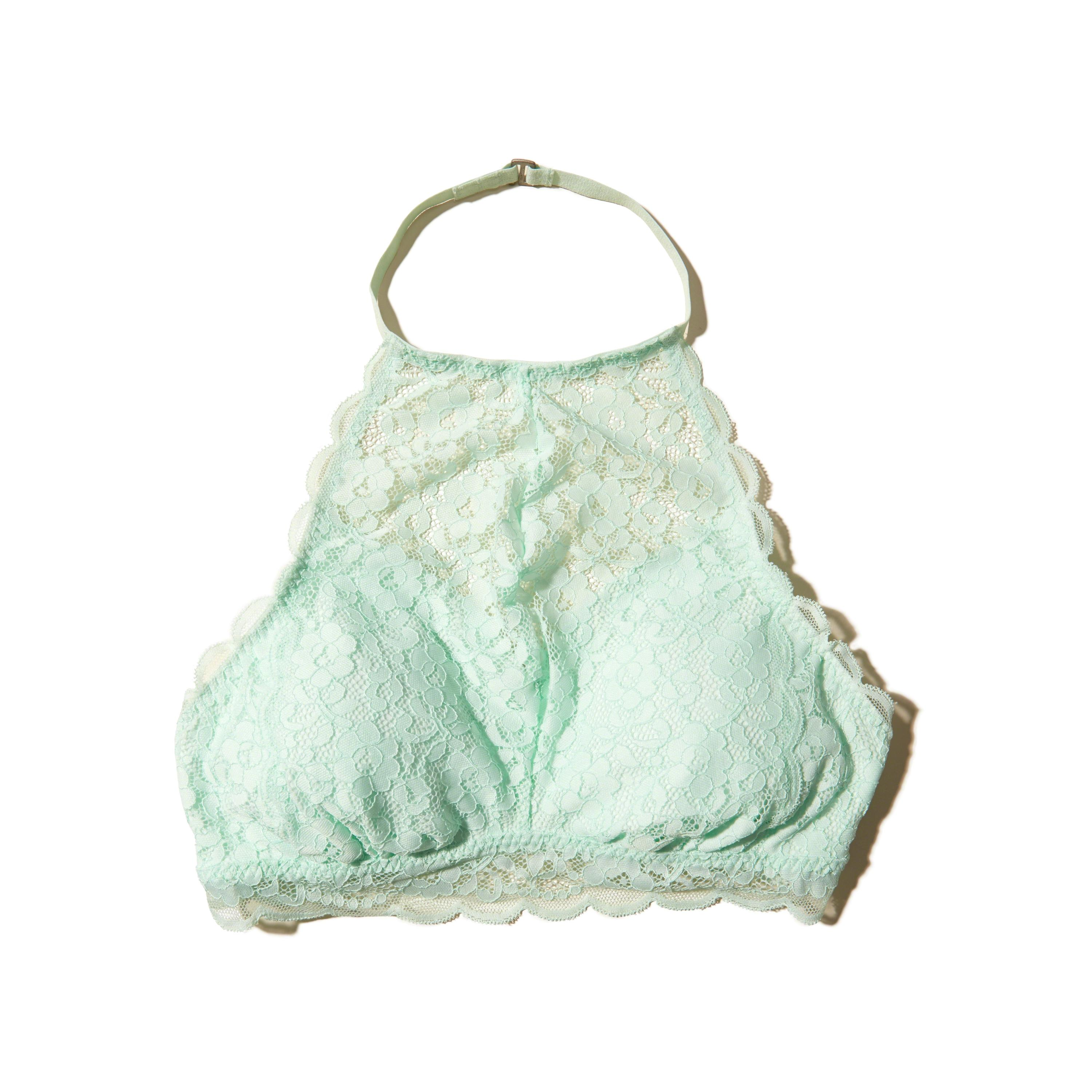 573b0aaffefaf Lyst - Hollister Lace High-neck Bralette With Removable Pads in Green