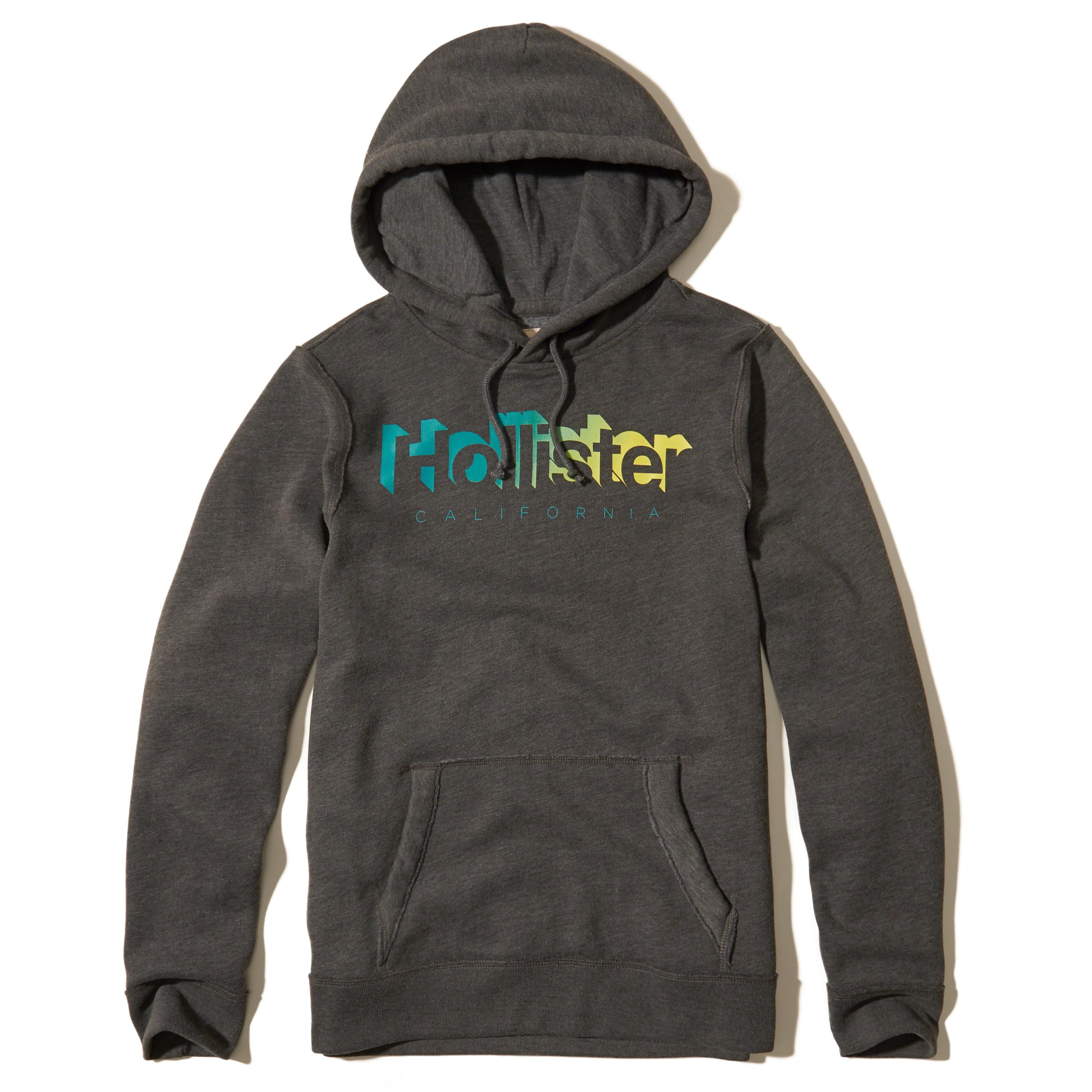 Hollister Printed Logo Graphic Hoodie in Gray for Men - Lyst