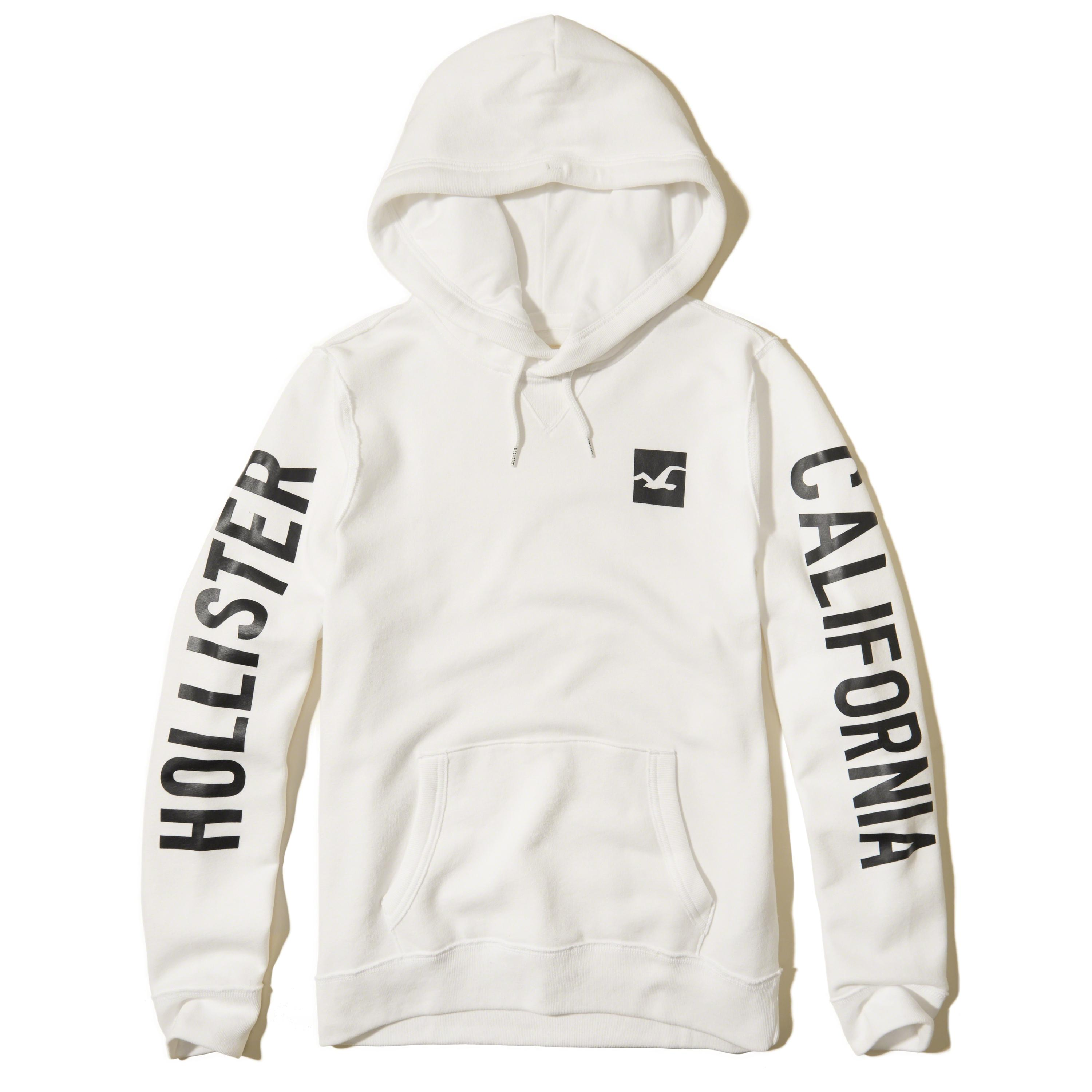 Hollister Sweaters Hollister Hoodies Hollister Shirts Hollister Jacket Hollister Pants Hollister Jeans: Hollister Printed Logo Graphic Hoodie In White For Men