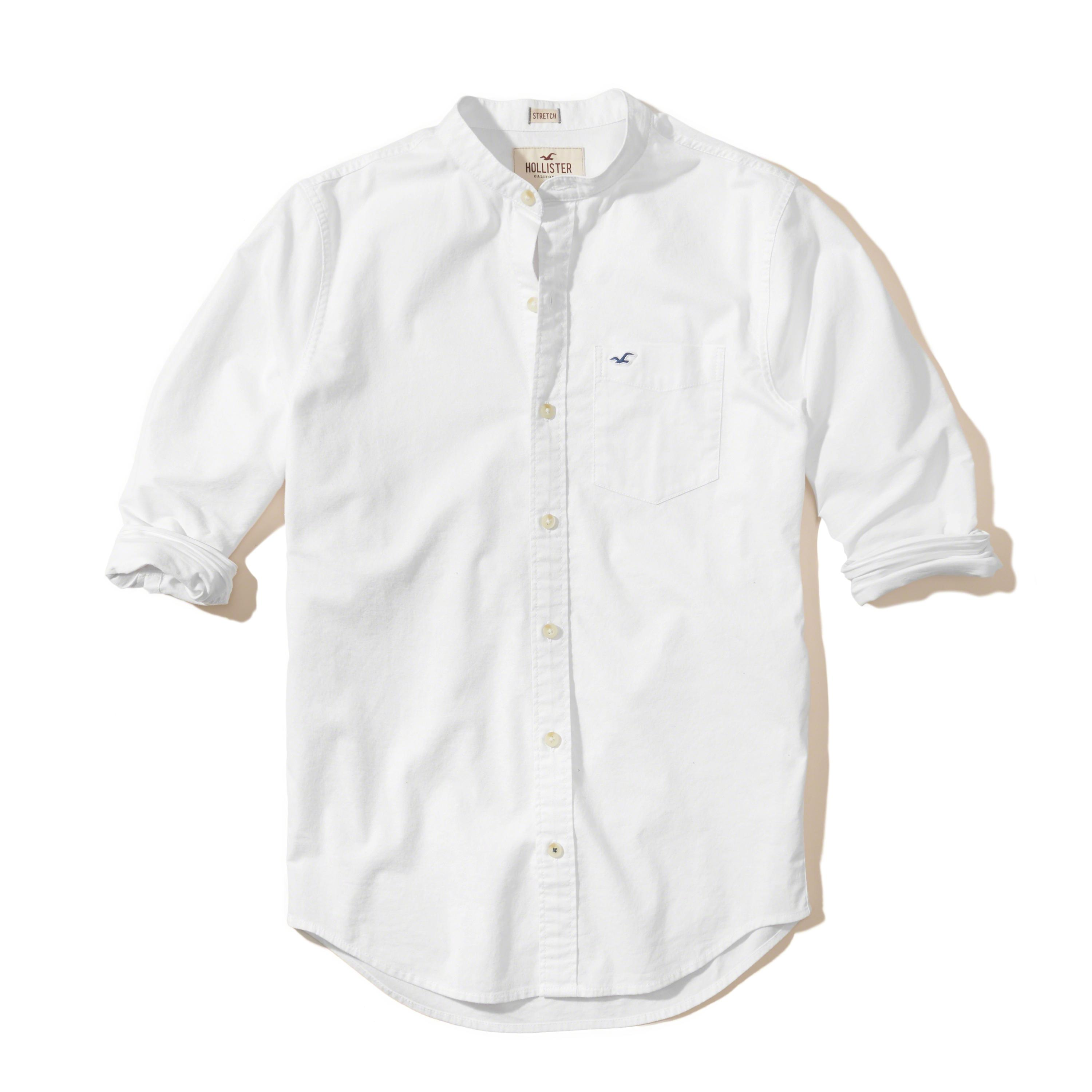Lyst Hollister Stretch Banded Collar Oxford Shirt In White For Men