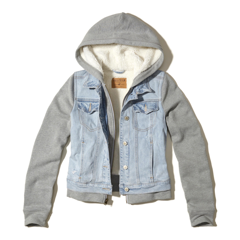 Hollister Sherpa Lined Hoodie Denim Jacket in Blue - Lyst