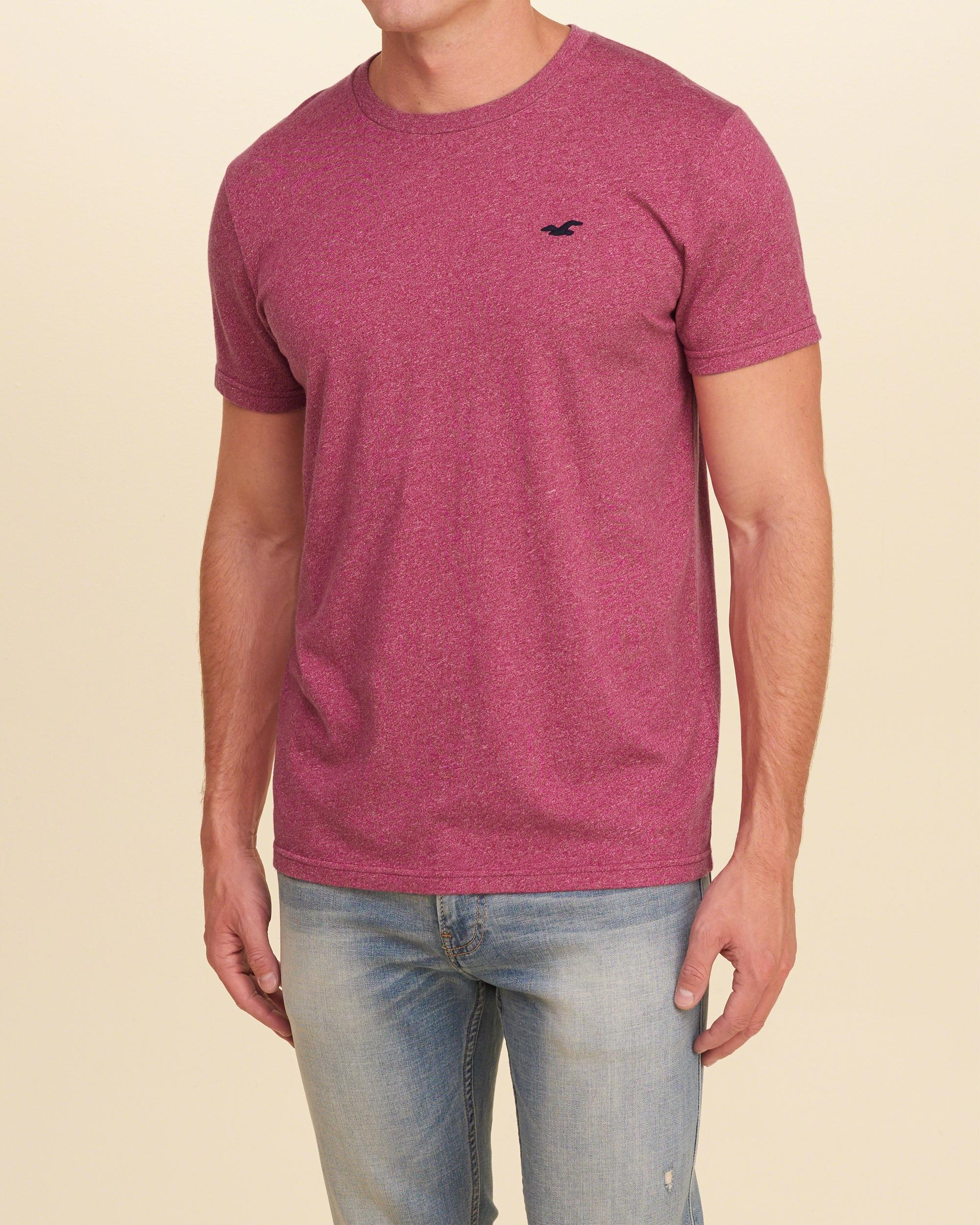 Hollister must have crew t shirt in pink for men lyst for Must have dress shirts