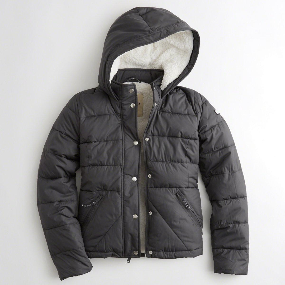 6eca773cb93c Lyst - Hollister Girls Sherpa-lined Puffer Jacket From Hollister in Gray