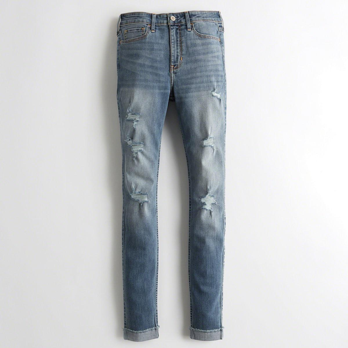 bddf05d6d1564 Hollister. Women s Blue Girls Classic Stretch High-rise Super Skinny Jeans  From Hollister