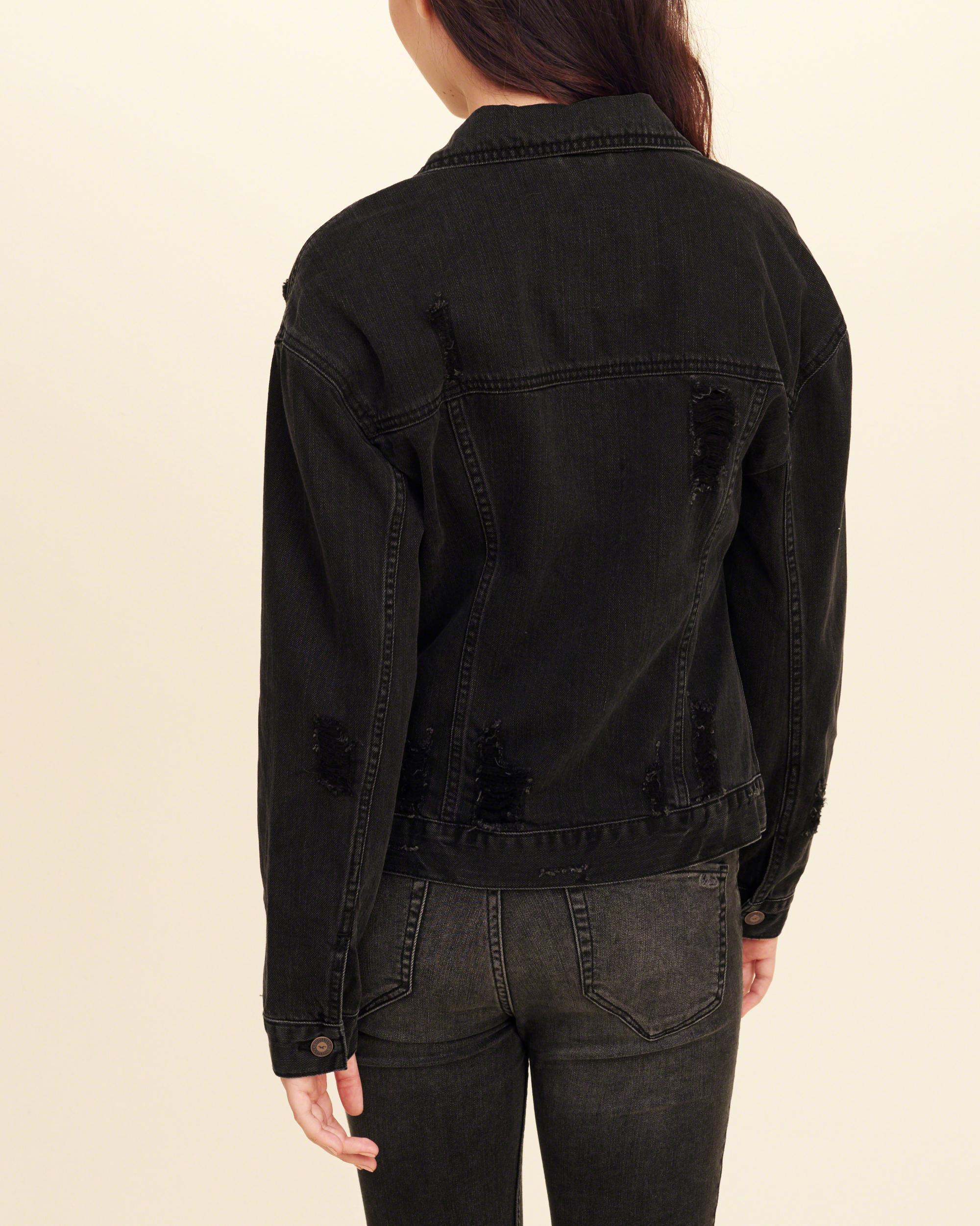 Lyst - Hollister Sherpa-lined Oversized Denim Jacket in Black
