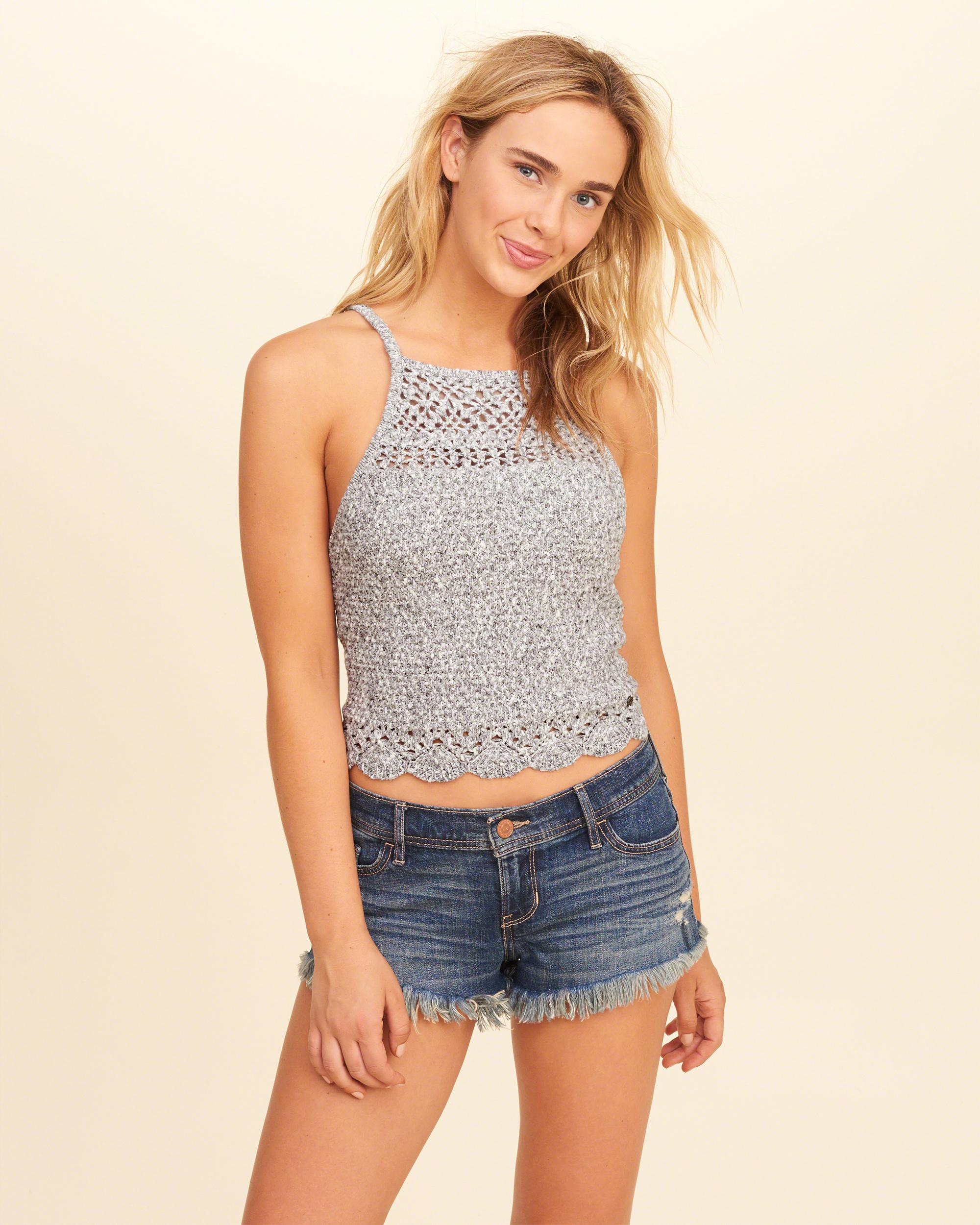Hollister High-neck Crop Sweater Tank in Gray | Lyst