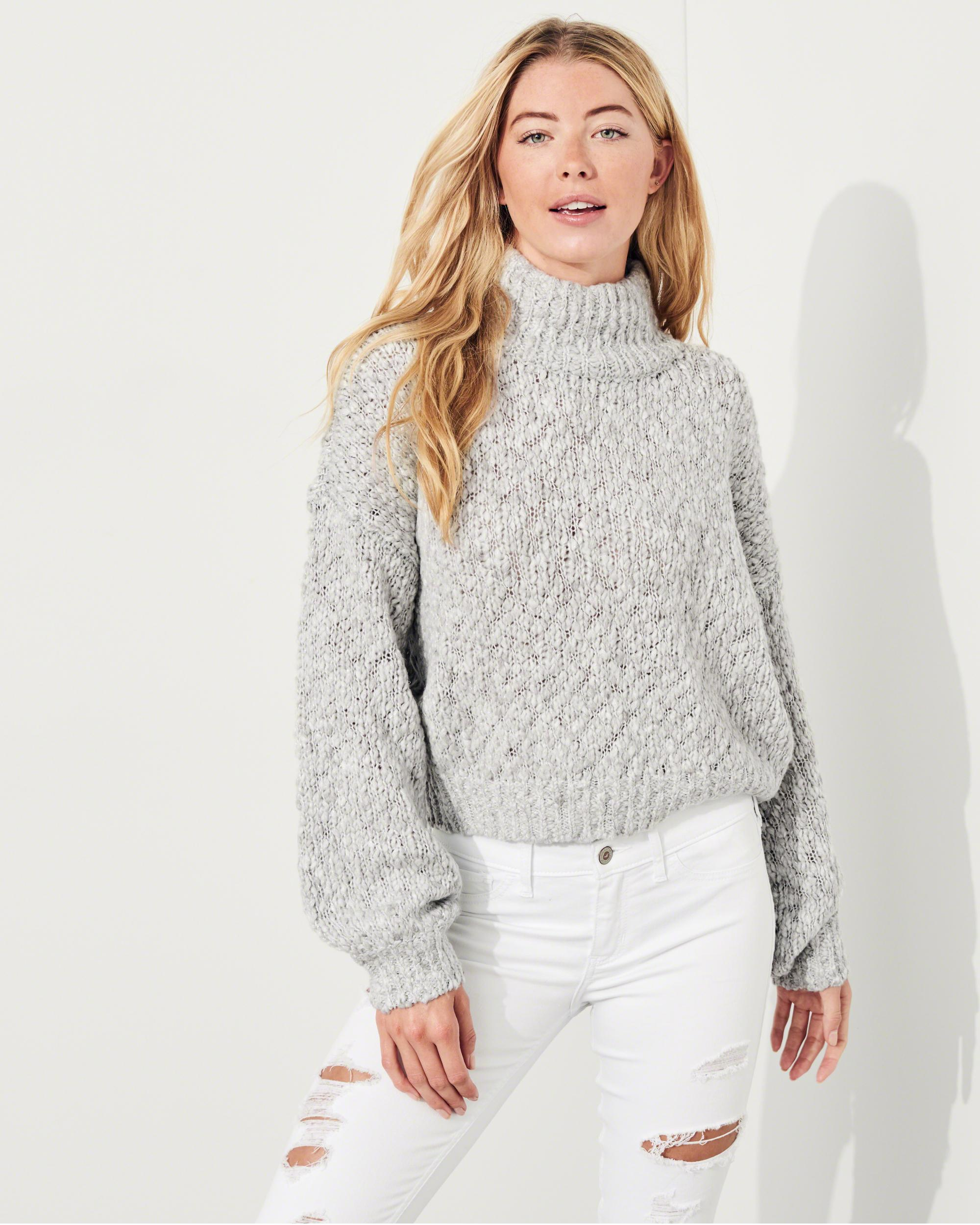 Hollister Shine Chunky Turtleneck Sweater in Gray - Save 62% | Lyst