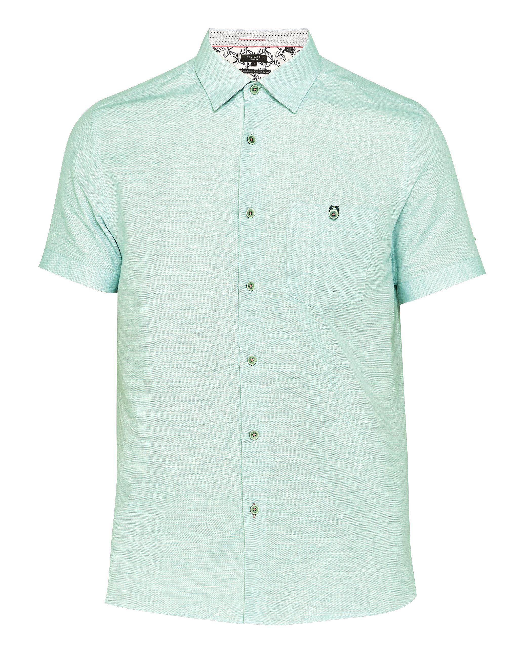 0ce9c794487d73 Ted Baker - Green Men s Peeze Linen Short Sleeved Shirt for Men - Lyst.  View fullscreen