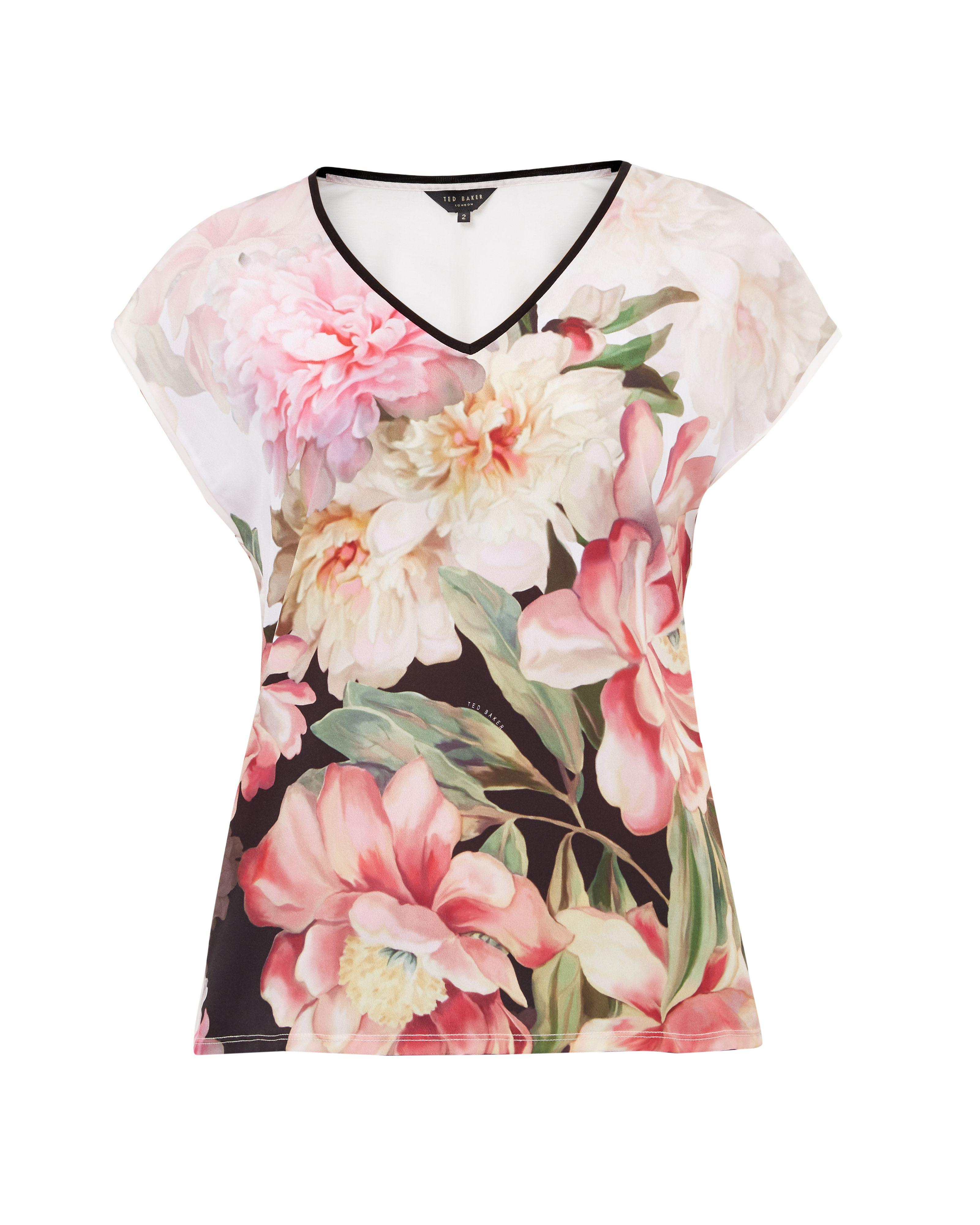 Ted Baker | Pink Ilenia Painted Posie Woven T-shirt | Lyst. View Fullscreen