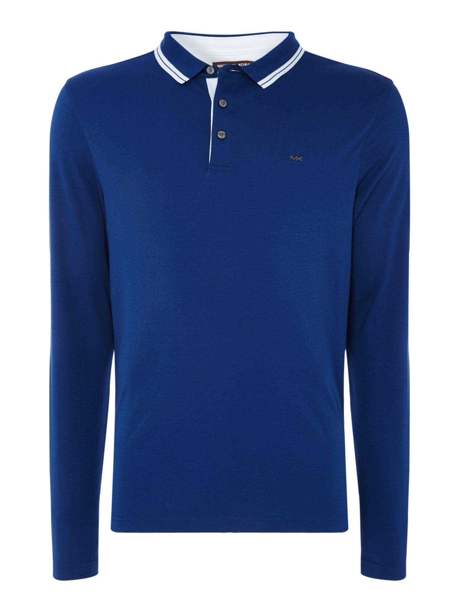 Michael kors men 39 s regular fit long sleeve greenwich polo for Michael kors mens shirts sale