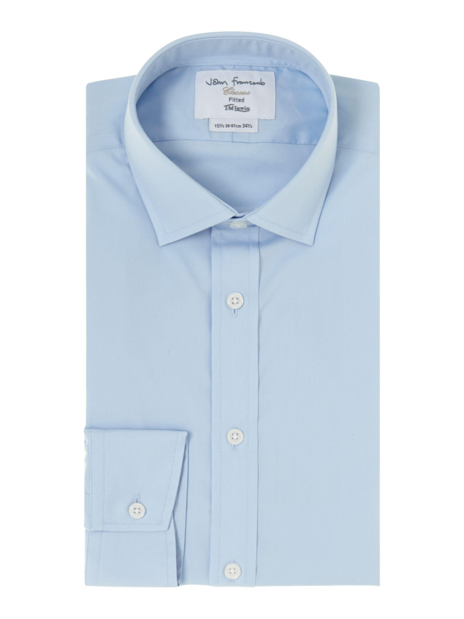Lyst tm lewin poplin fitted shirt in blue for men for Tailored fit shirts meaning