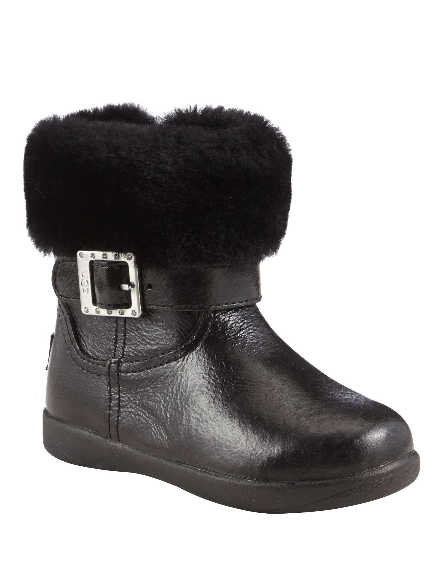UGG. Women's Black Girls Boots With Diamante Buckle